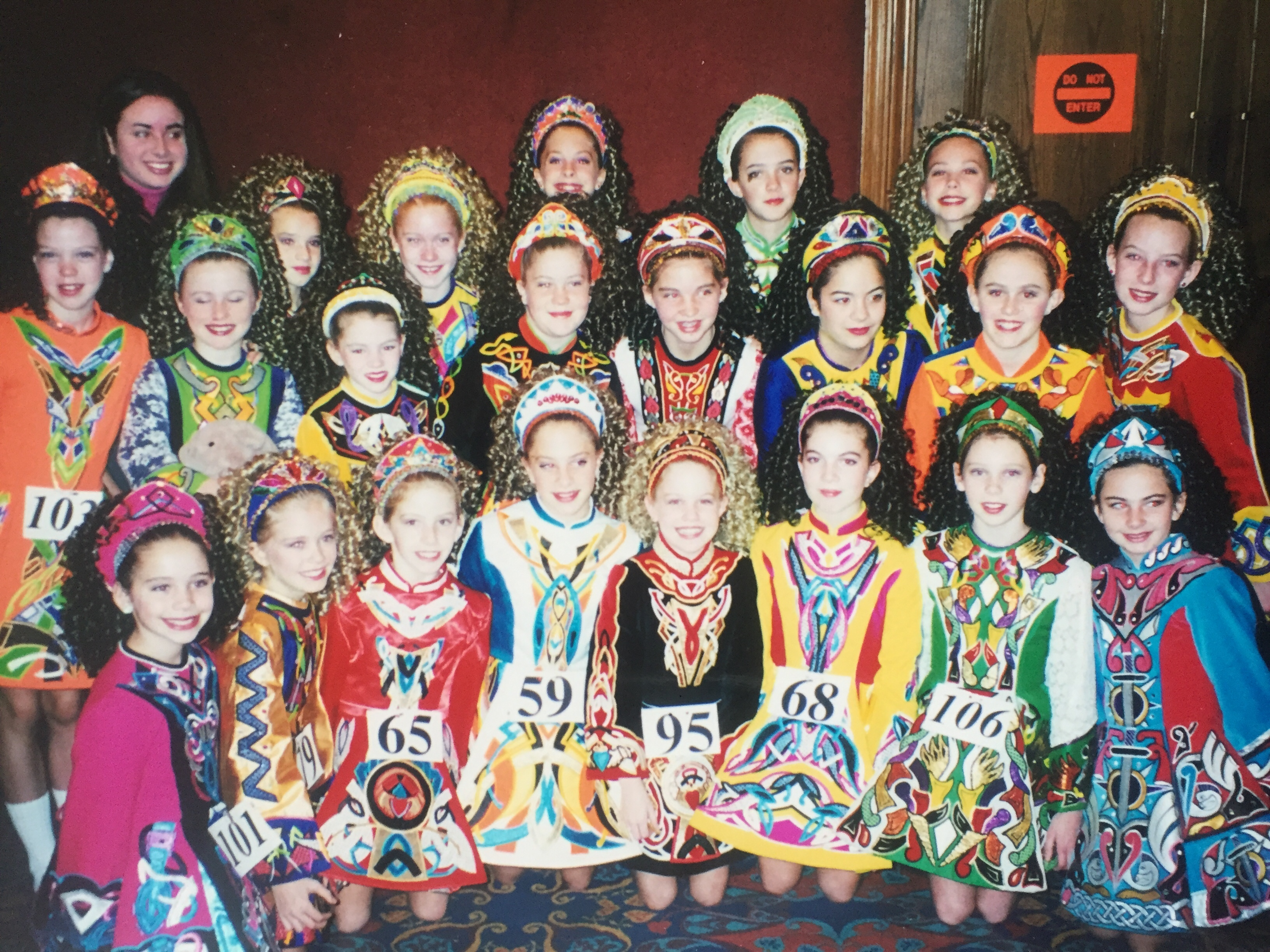 Young girls in Irish step dancing dresses