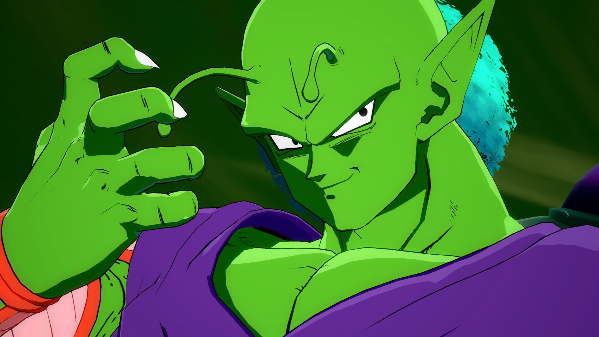 A screenshot of Piccolo posing in Dragon Ball FighterZ