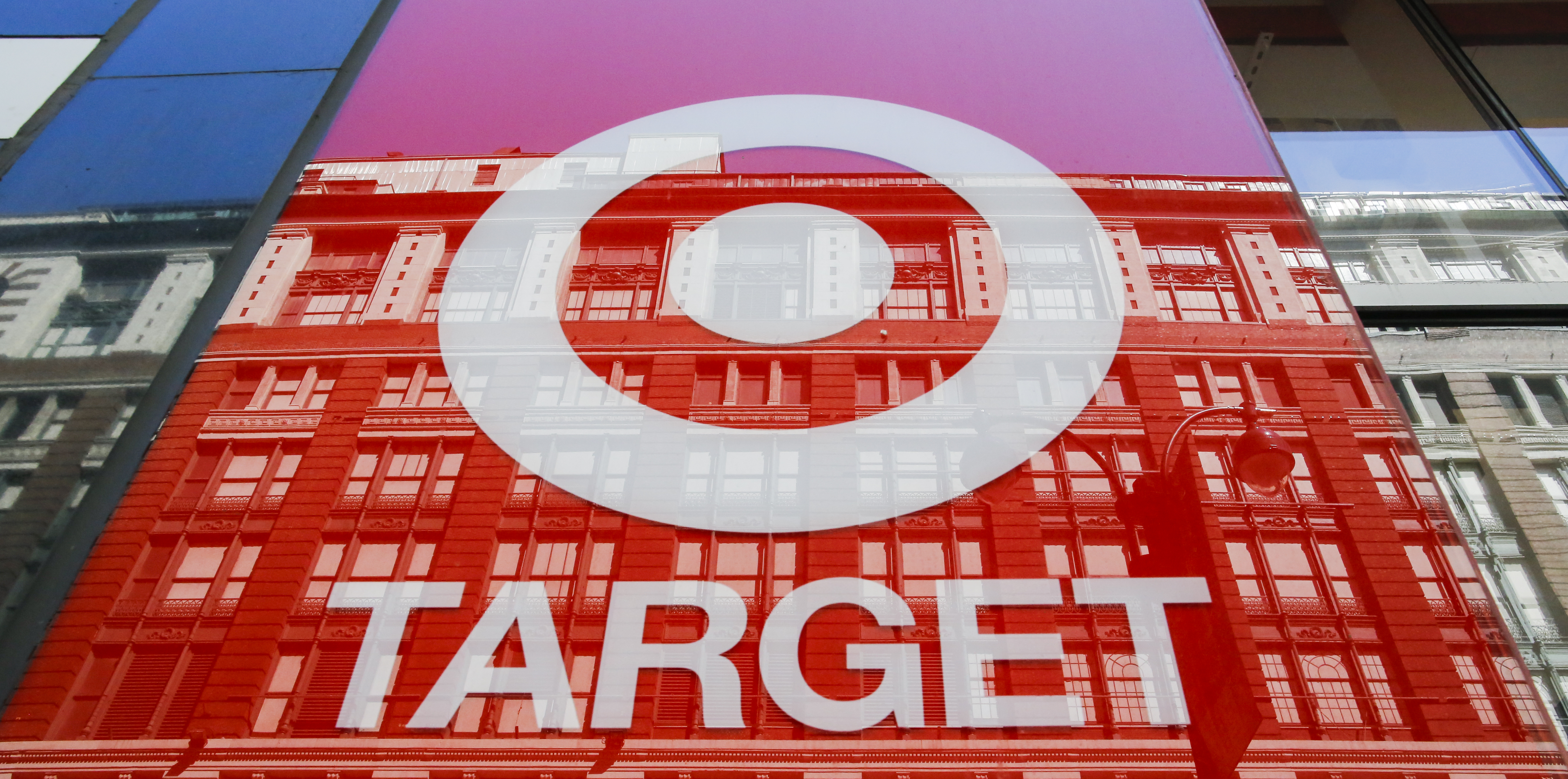 The Target logo on the facade of a building.