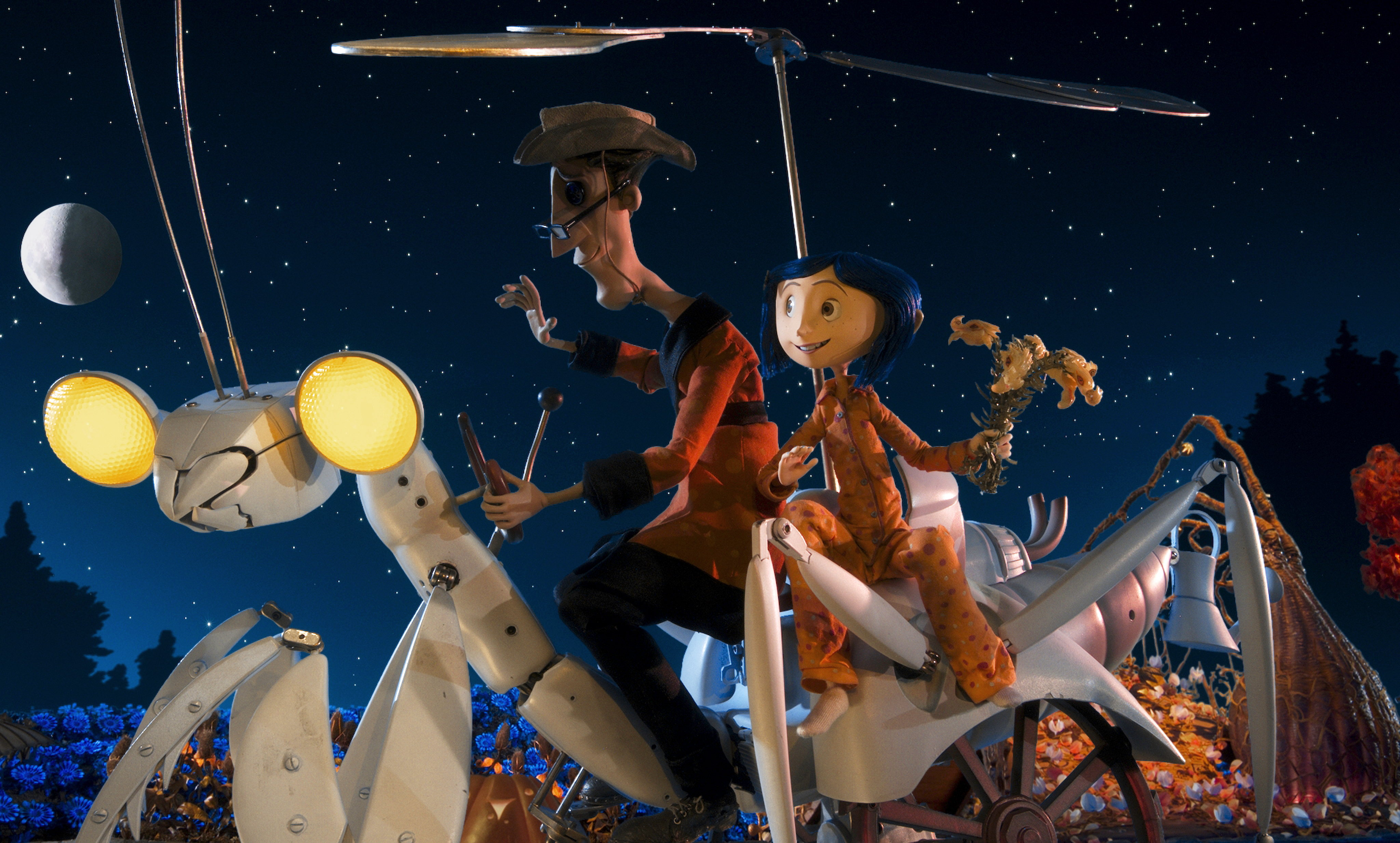 Other Father and Coraline take a ride on a mechanical mantis.
