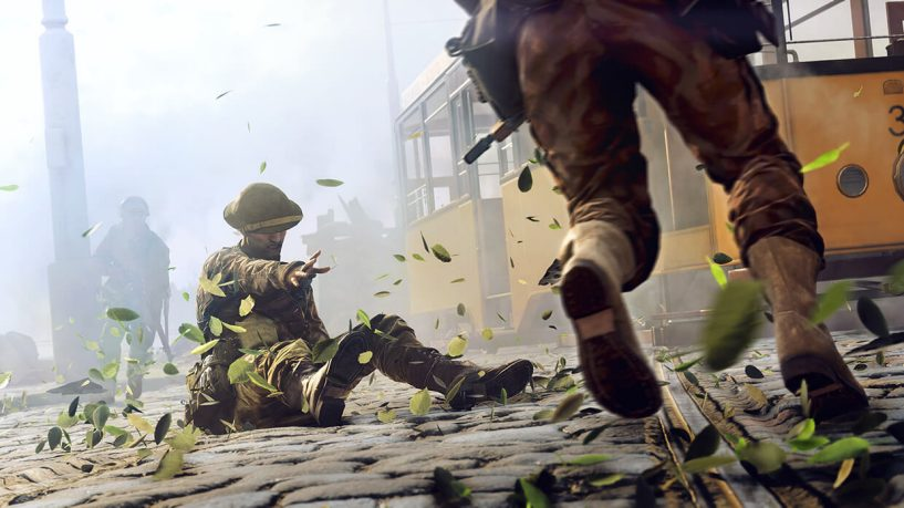In Battlefield 5, an Allied player calls for aid on the streets of Rotterdam.