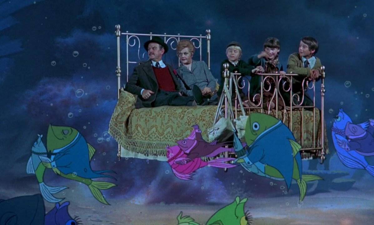 David Tomlinson and Angela Lansbury go under the ocean in Bedknobs and Broomsticks