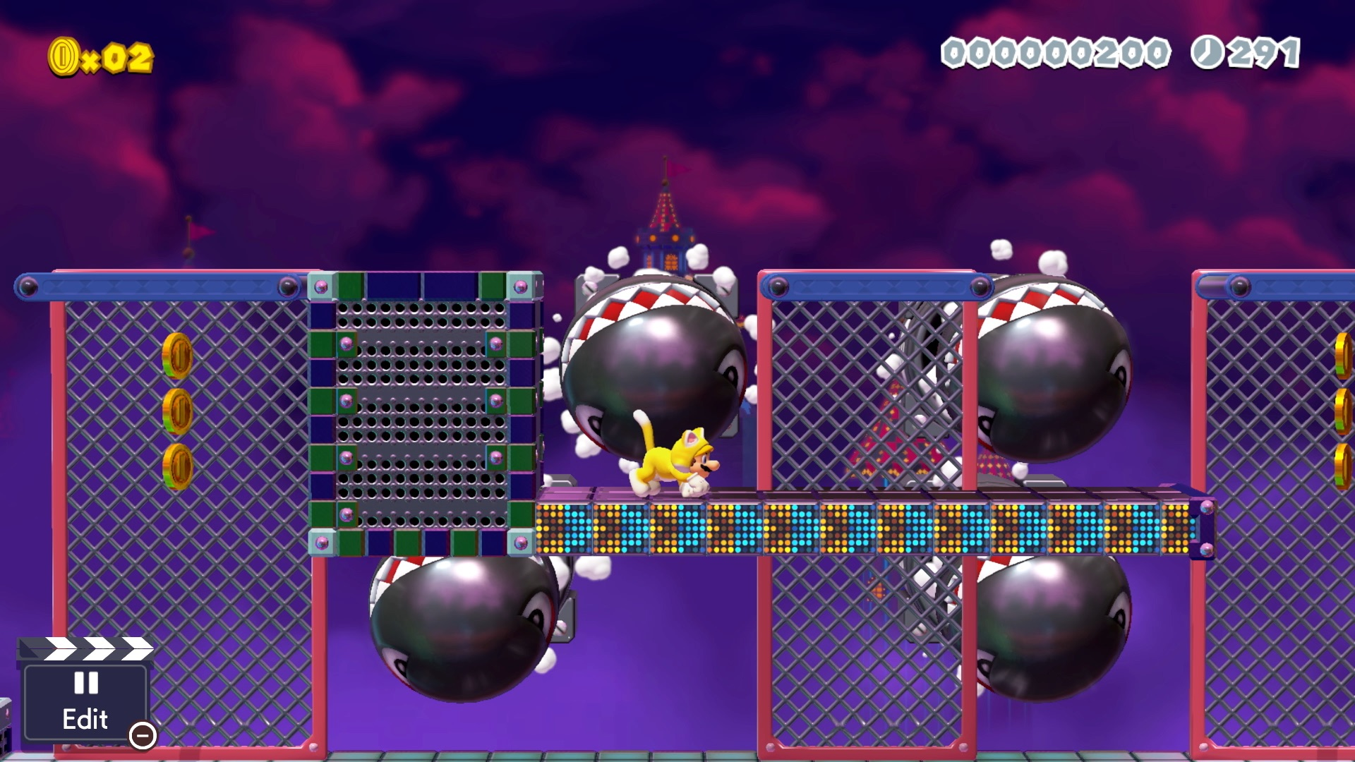 Cat Mario dodges bullet bills in Super Mario Maker 2