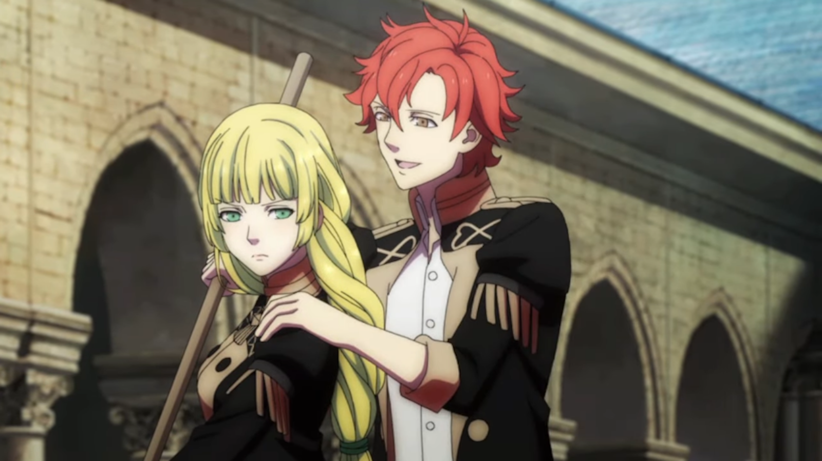 Sylvain rubs Ingrid's shoulders in a slightly creepy way in Fire Emblem: Three Houses for Nintendo Switch.