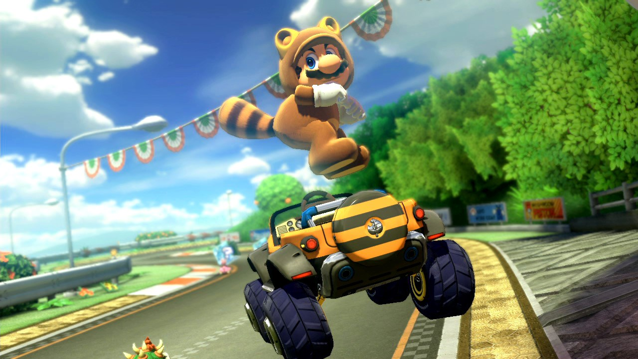 Tanooki Suit Mario hops out of his jeep during a lap of Mario Kart 8.