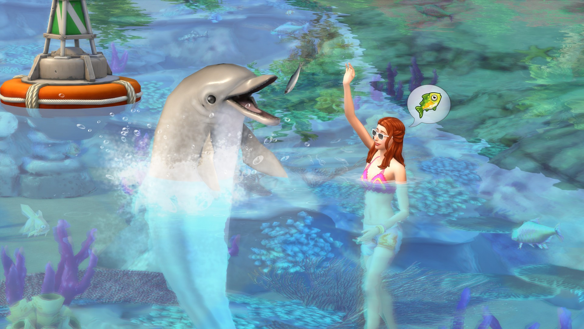 A woman talks to a dolphin in the Sims 4.