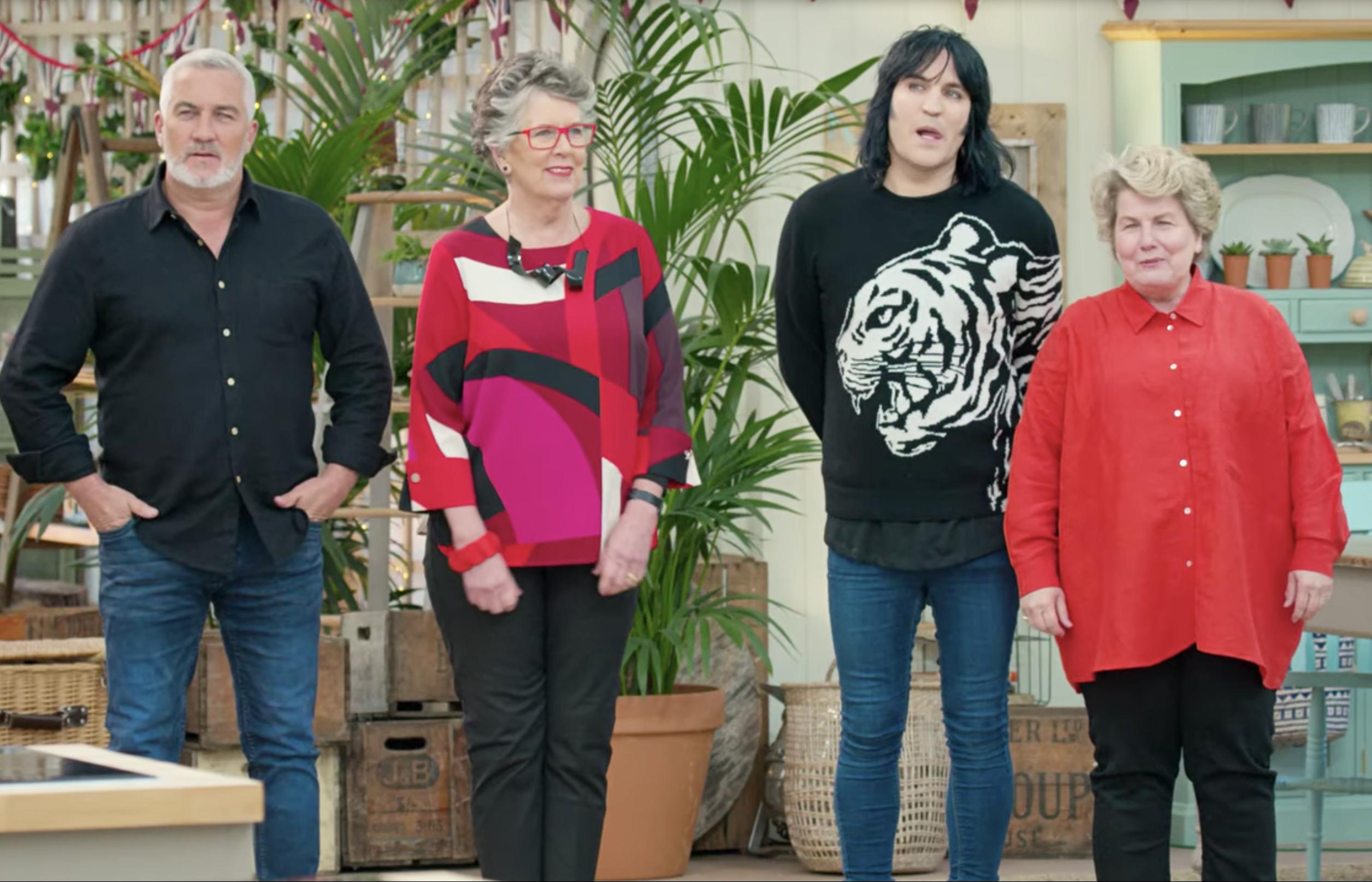 Great British Baking Show hosts Paul Hollywood, Prue Leith, Noel Fielding, and Sandi Toksvig.
