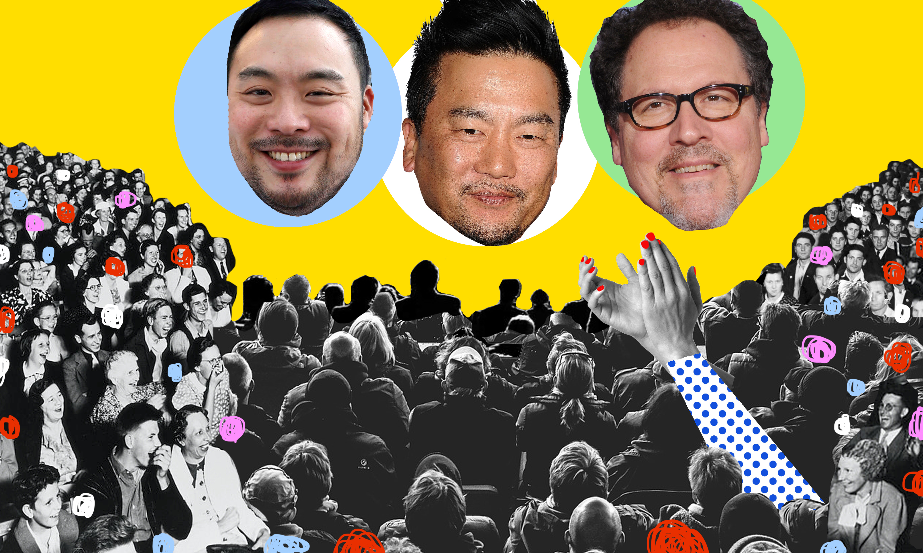The heads of David Chang, Roy Choi, and Jon Favreau float over a theater crowd in black and white.