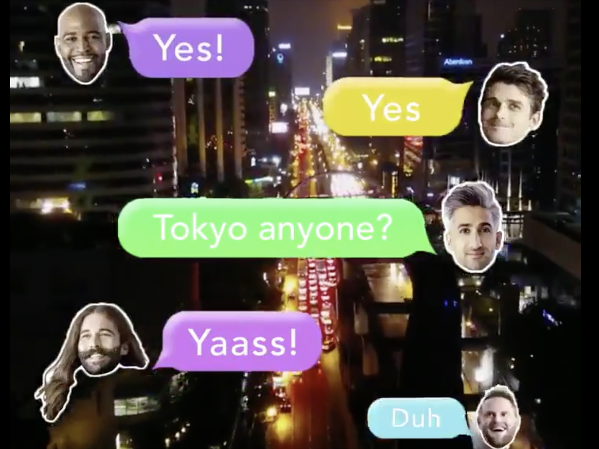 Text messages about going to Tokyo from the five stars of Queer Eye