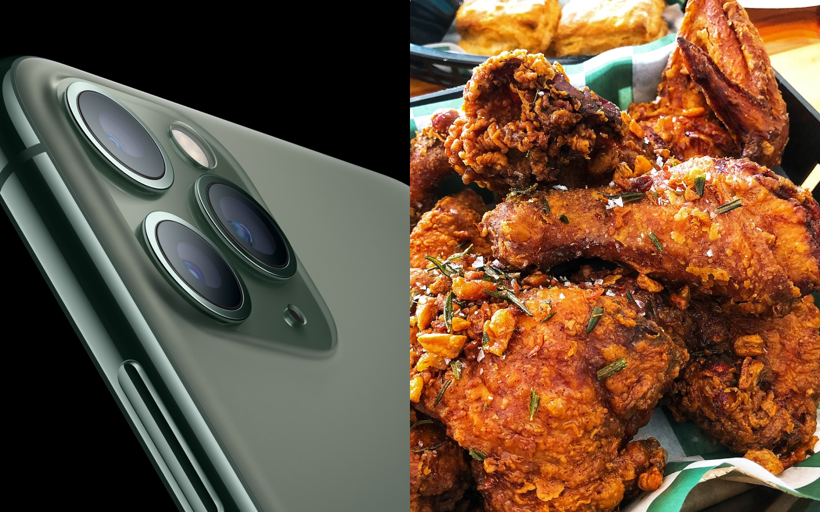 Diptych: new iPhone 11, and a close-up of fried chicken.