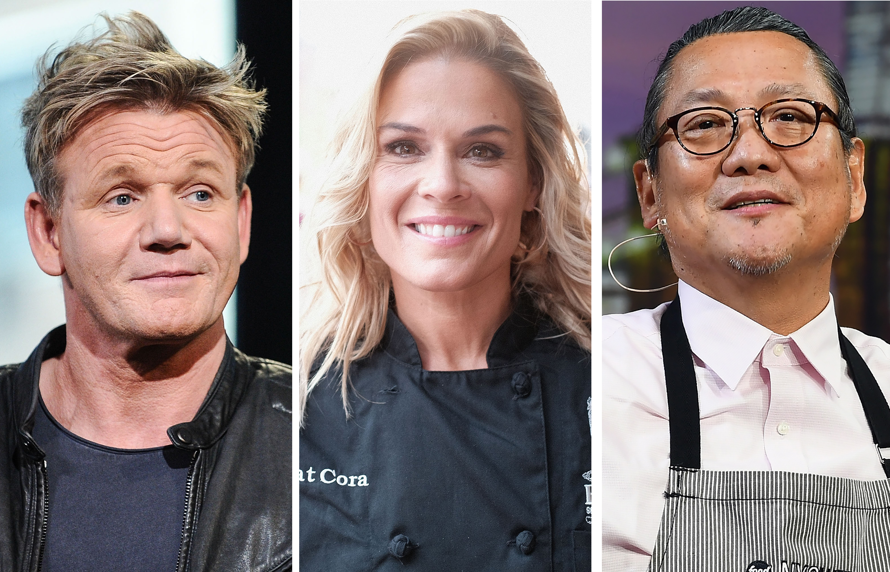 A three-panel photo showinig headshots of Gordon Ramsay, Cat Cora, and Masaharu Morimoto