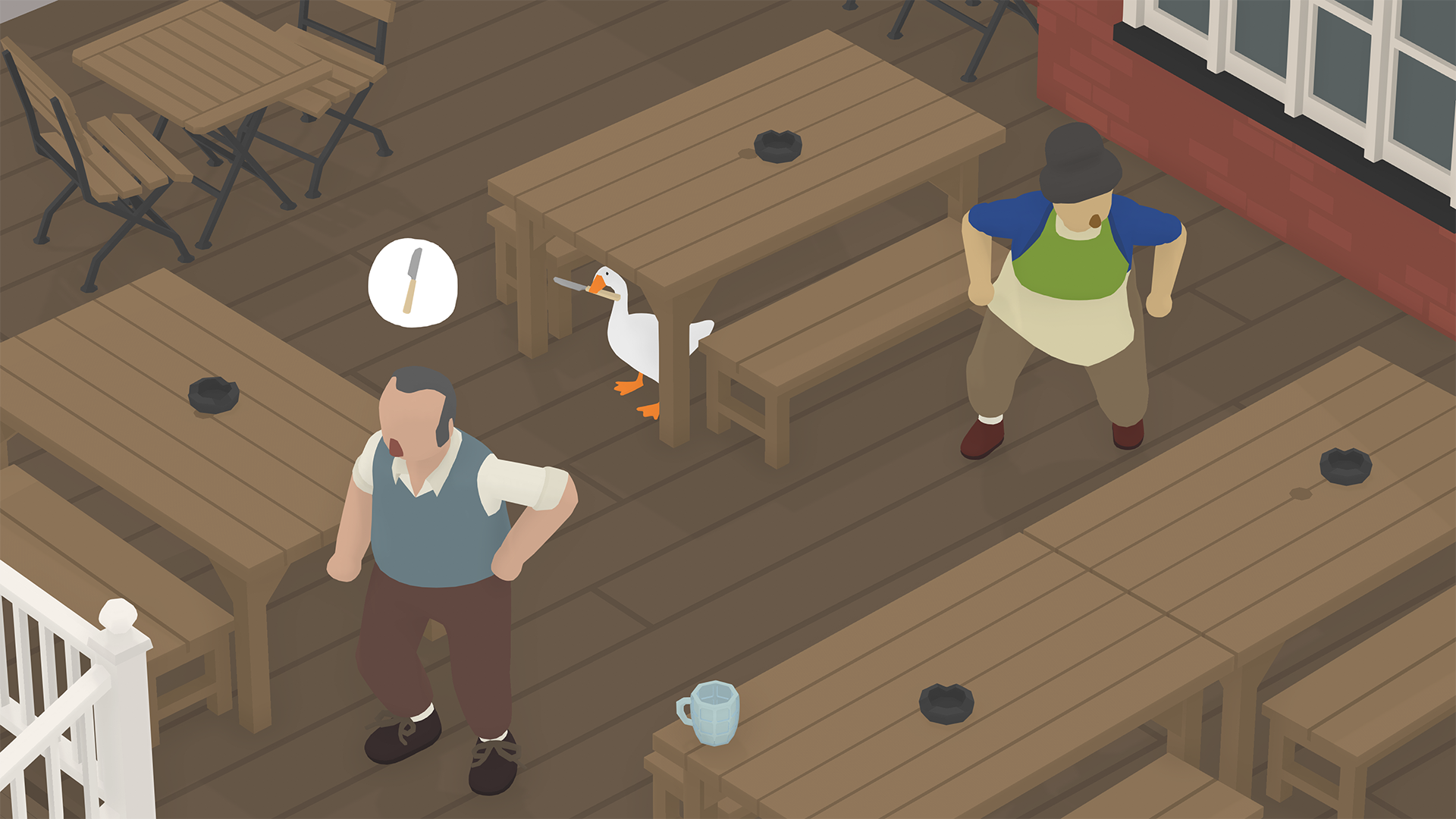 An illustration of a goose standing under a table, holding a knife, while two people search for the knife
