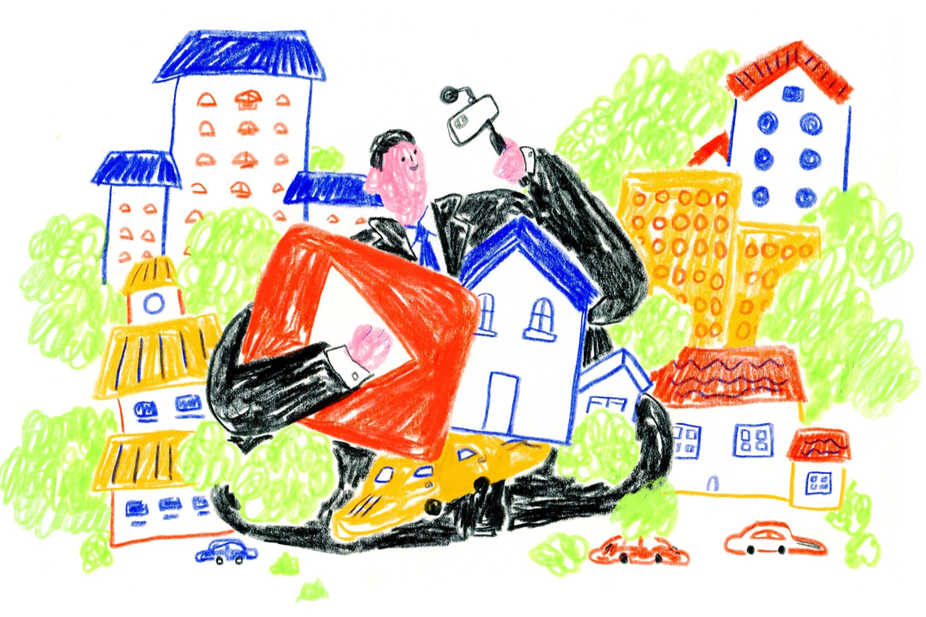 A man in a black suit holding up his cell phone on a selfie stick in the act of vlogging. He's holding a large Youtube logo in one arm and is surrounded by a neighborhood scene, homes, and cars. Illustration.