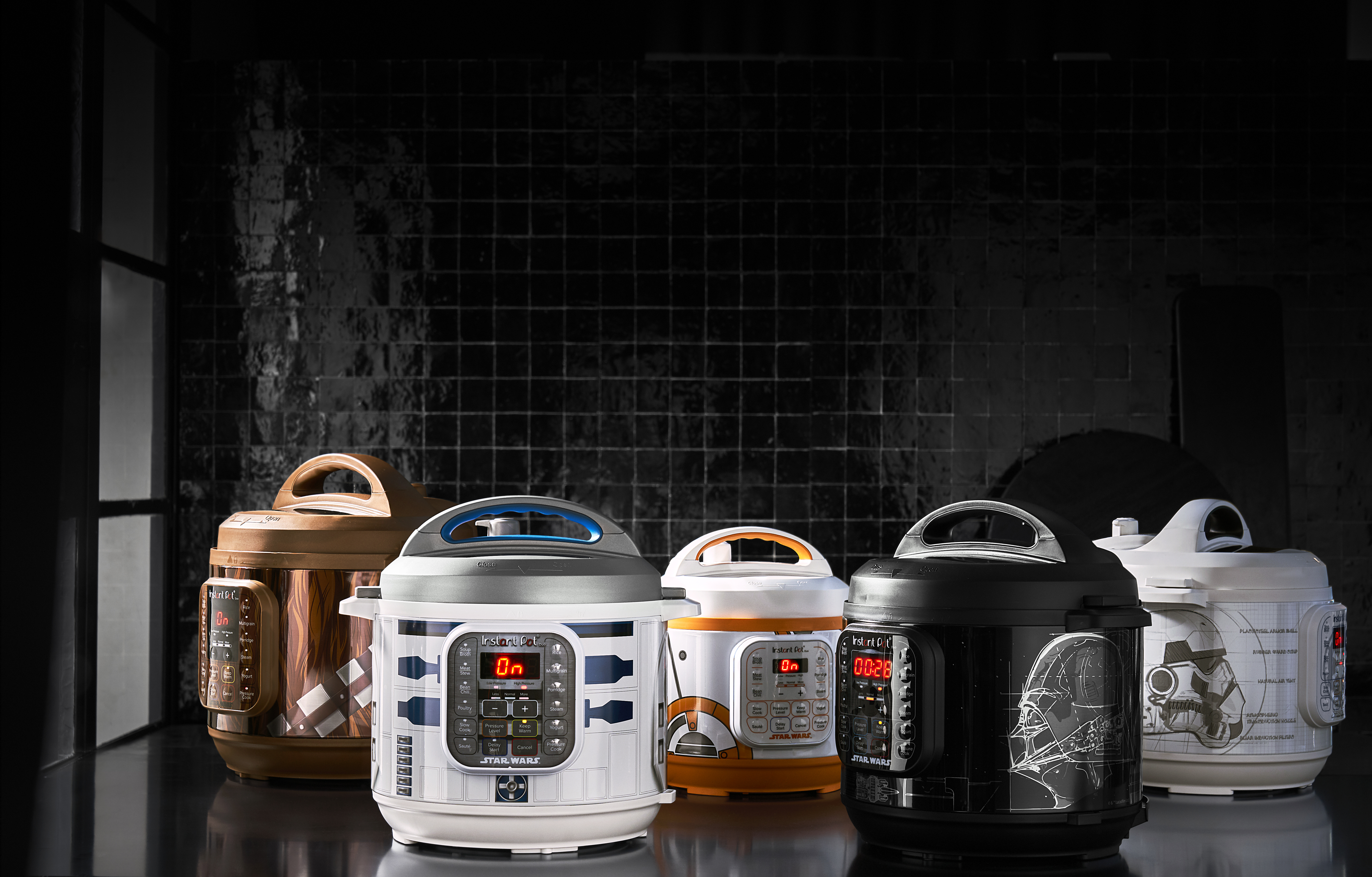 Five Star Wars-designed Instant Pots on a black background