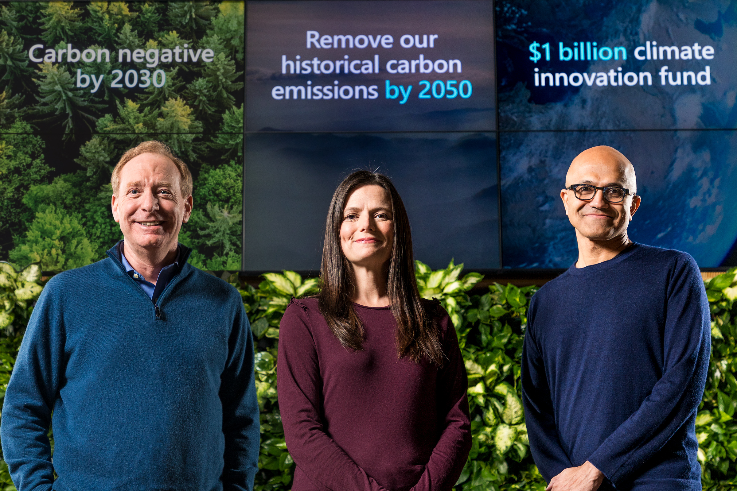 Microsoft President Brad Smith, Chief Financial Officer Amy Hood and CEO Satya Nadella