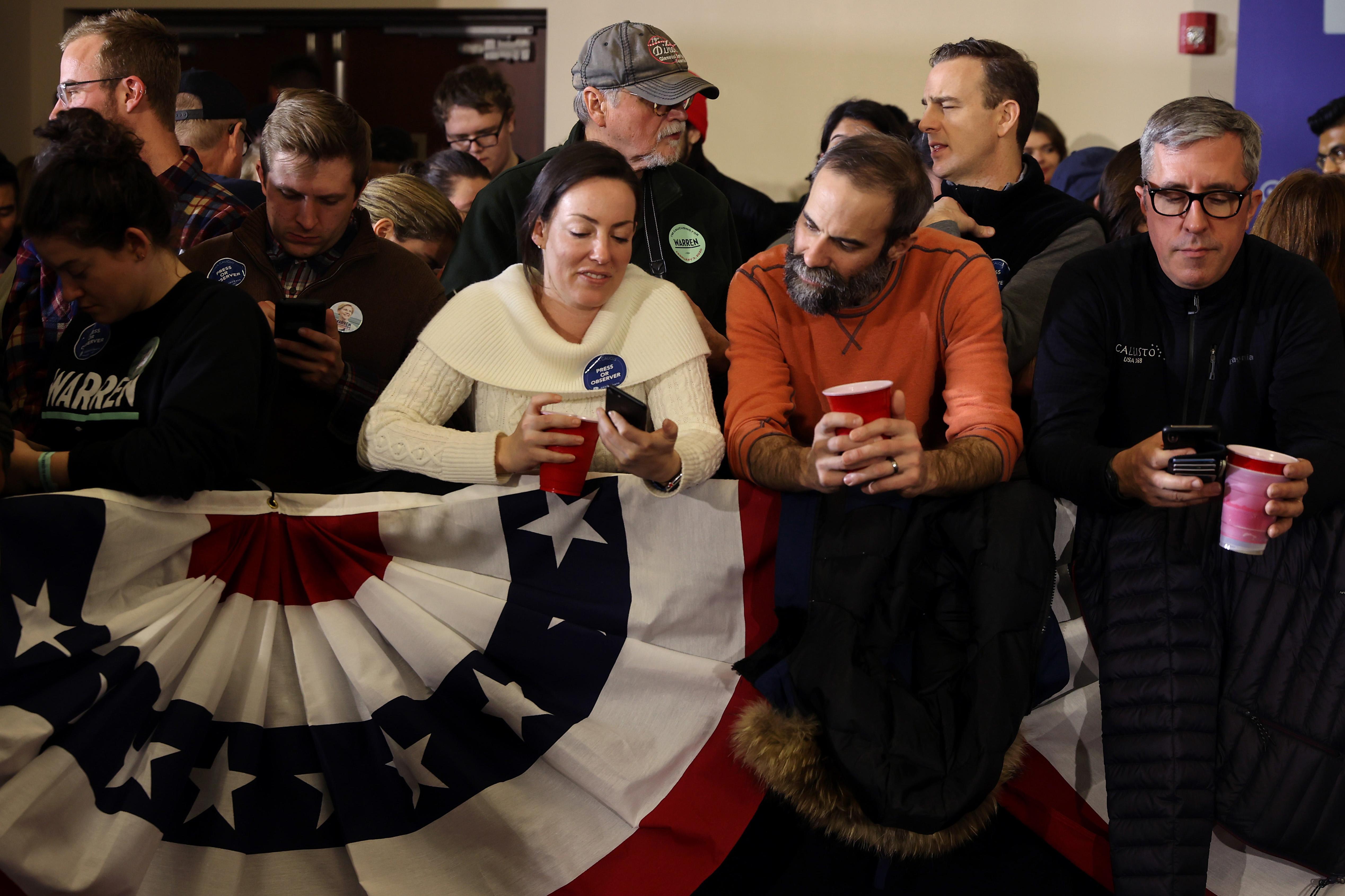 Sen. Elizabeth Warren Holds Caucus Night Watch Party In Iowa
