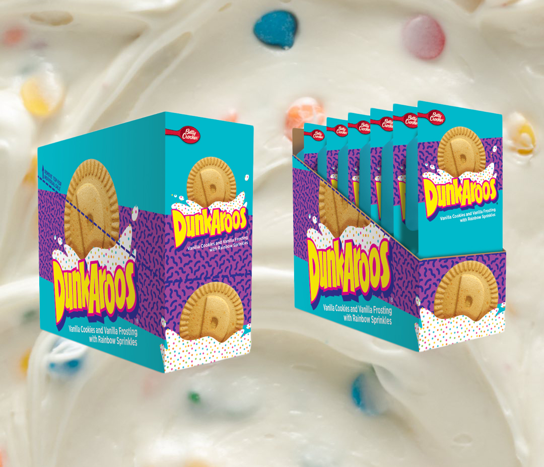 Dunkaroos packaging overlaid on a background of frosting.