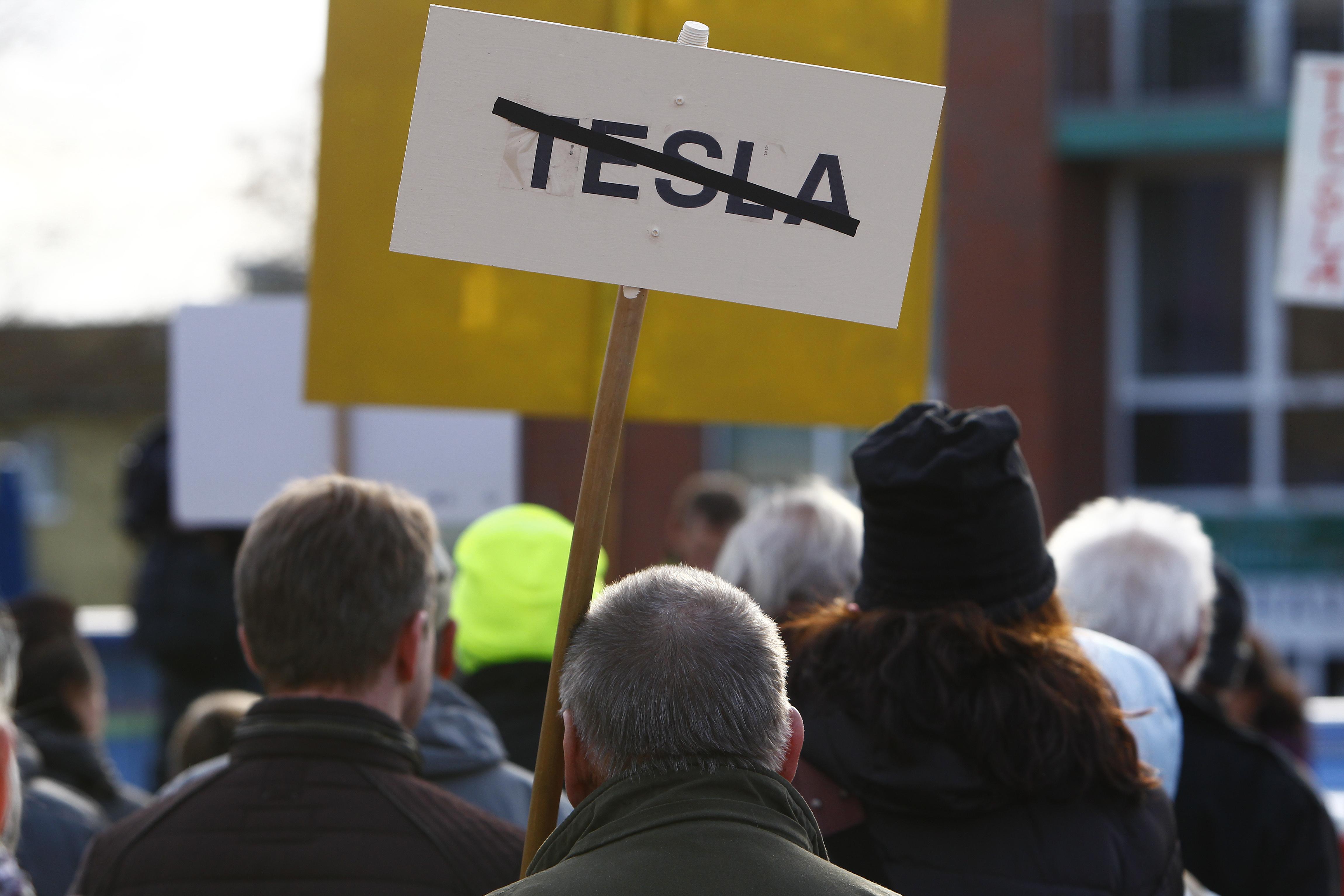 Protesters Demonstrate Against New Tesla Gigafactory In Gr?nheide
