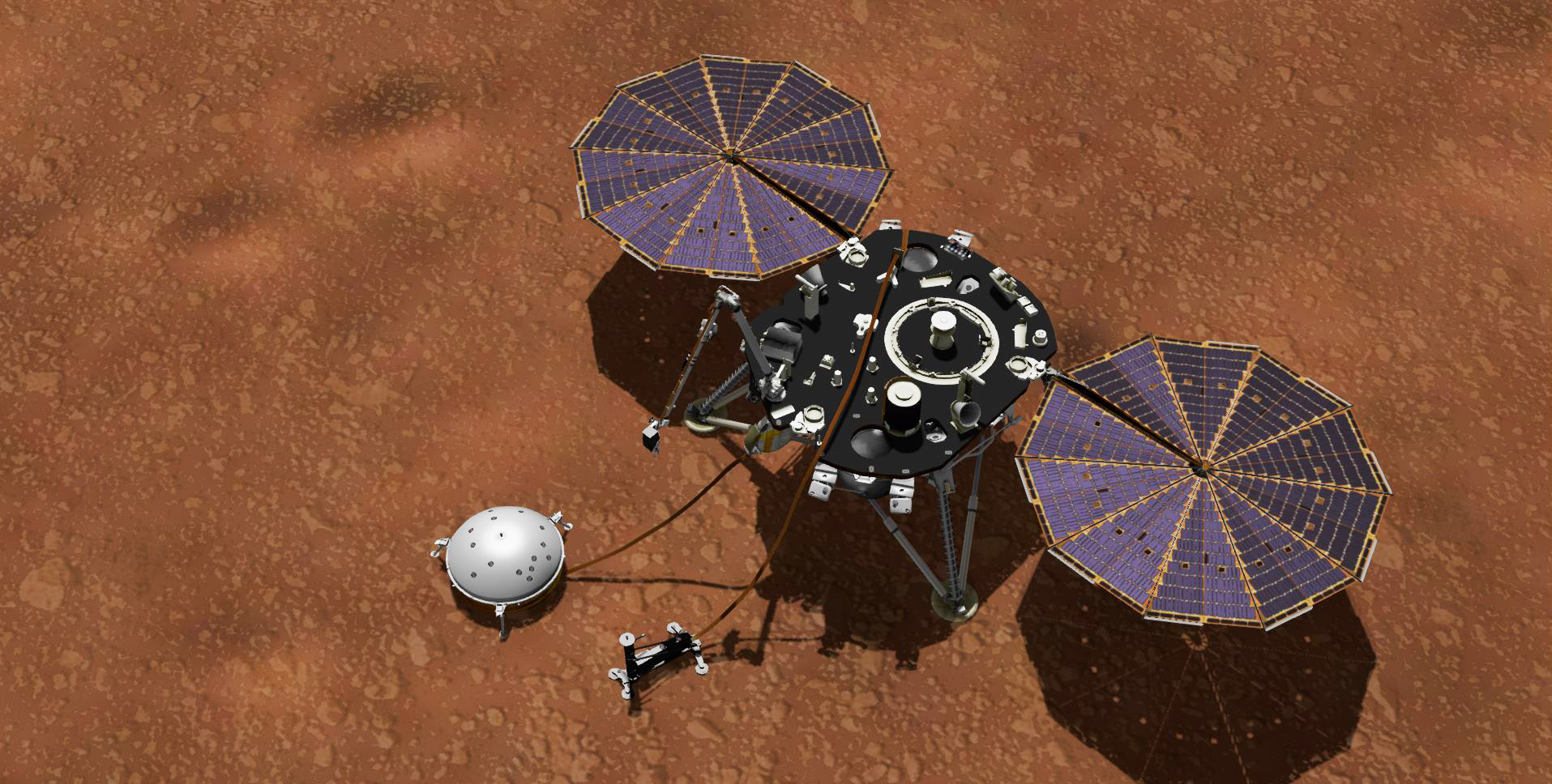 A lander sits on the orangish surface of Mars.