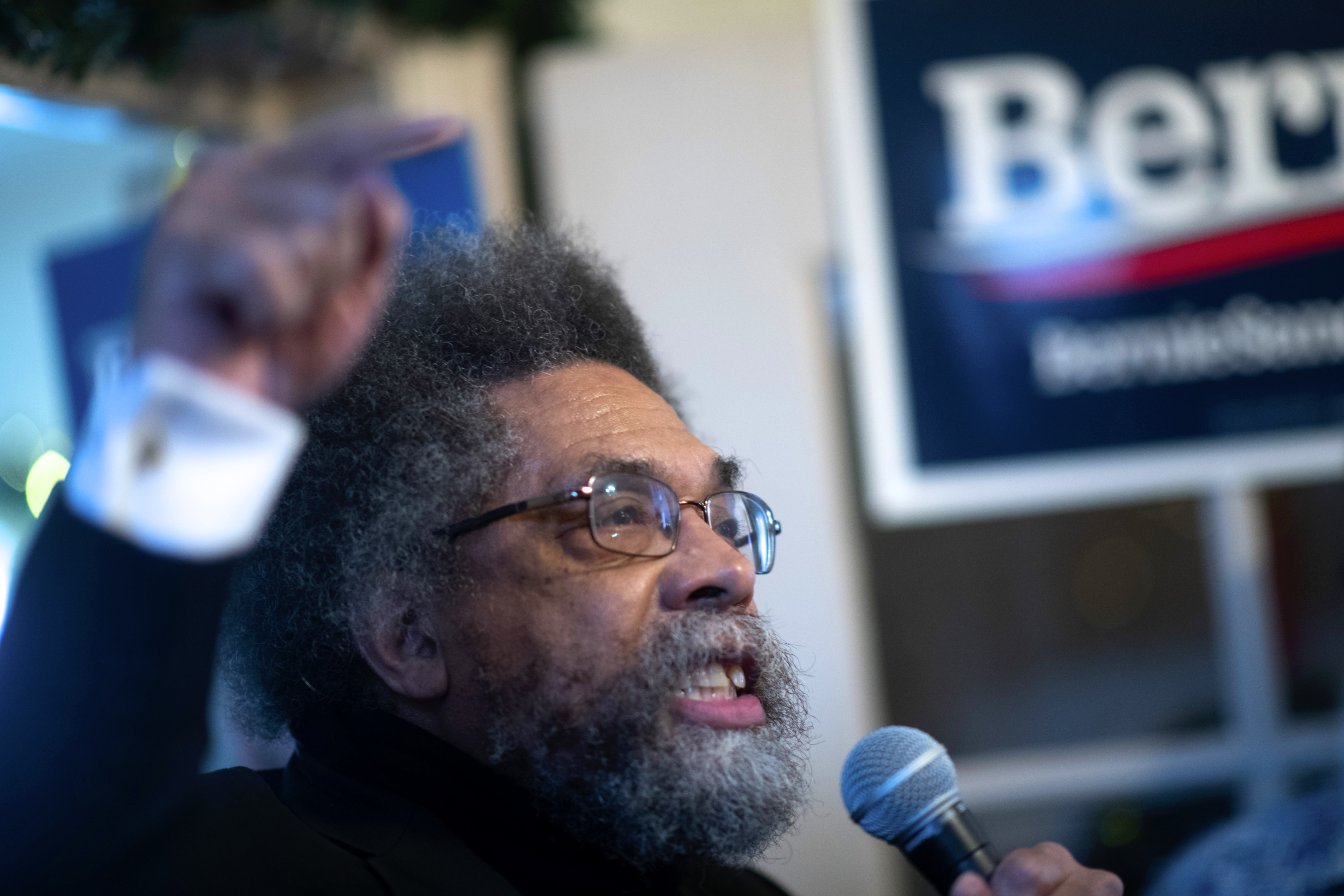 Academic Cornel West, a supporter of Democratic Presidential candidate Bernie Sanders, speaks during an event with local campaign volunteers at a field office located in a residence on February 1, 2020 in Waterloo, Iowa. On the penultimate day of campaign before the Iowa Caucus, Democratic Presidential candidates and their supporters are traversing the state to greet prospective voters.