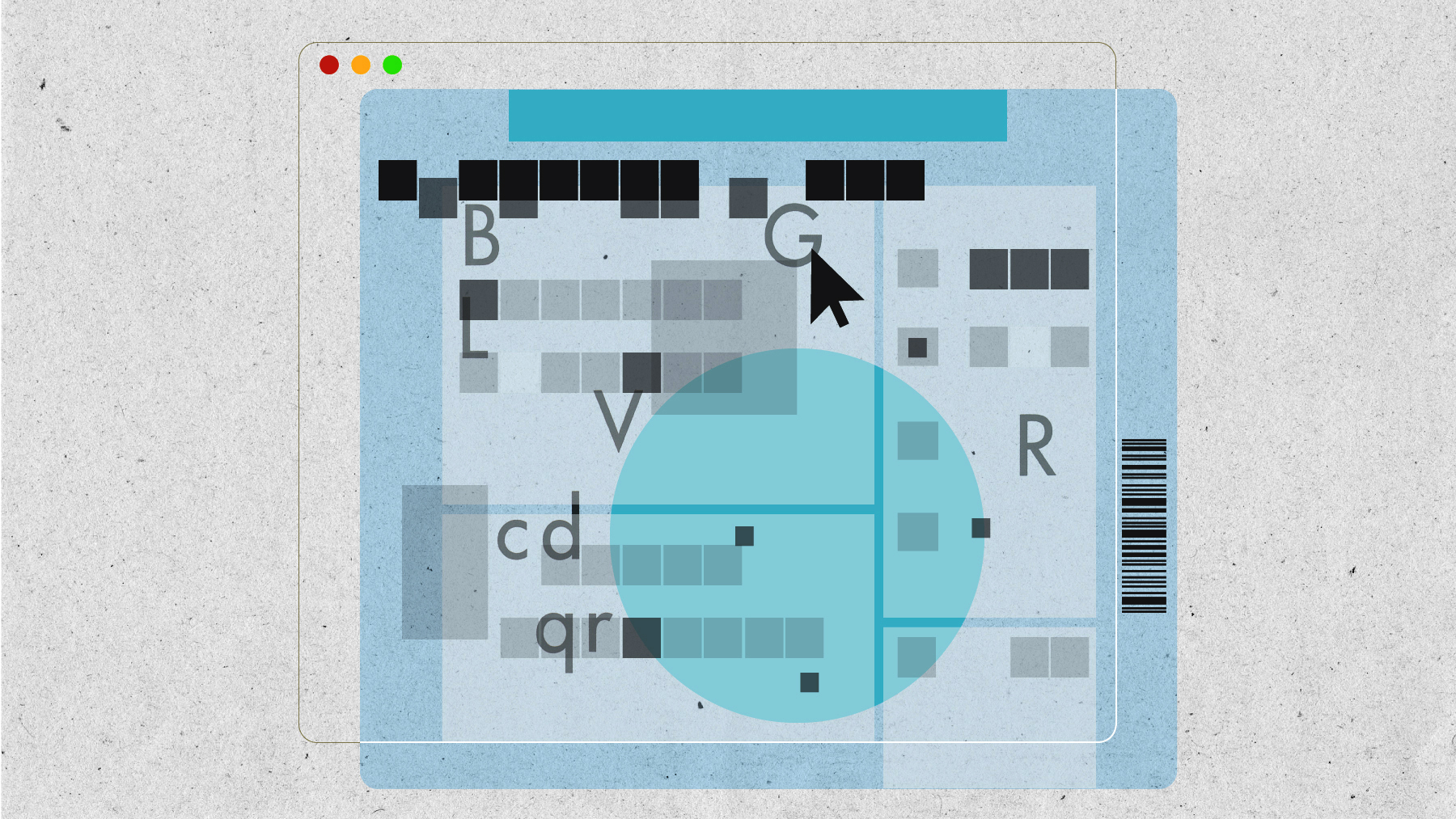 An illustration using rounded and transitional squares and circle elements that look like a census form in an internet browser.