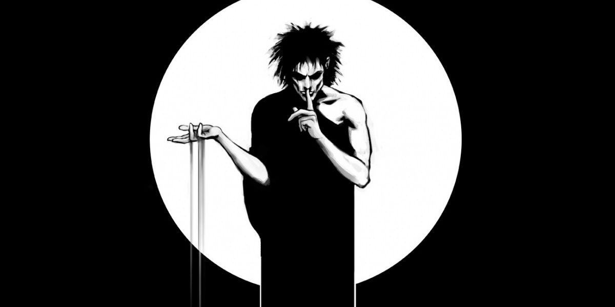 Morpheus holds a finger to his lips while sand slips from his fingers in a panel from Sandman