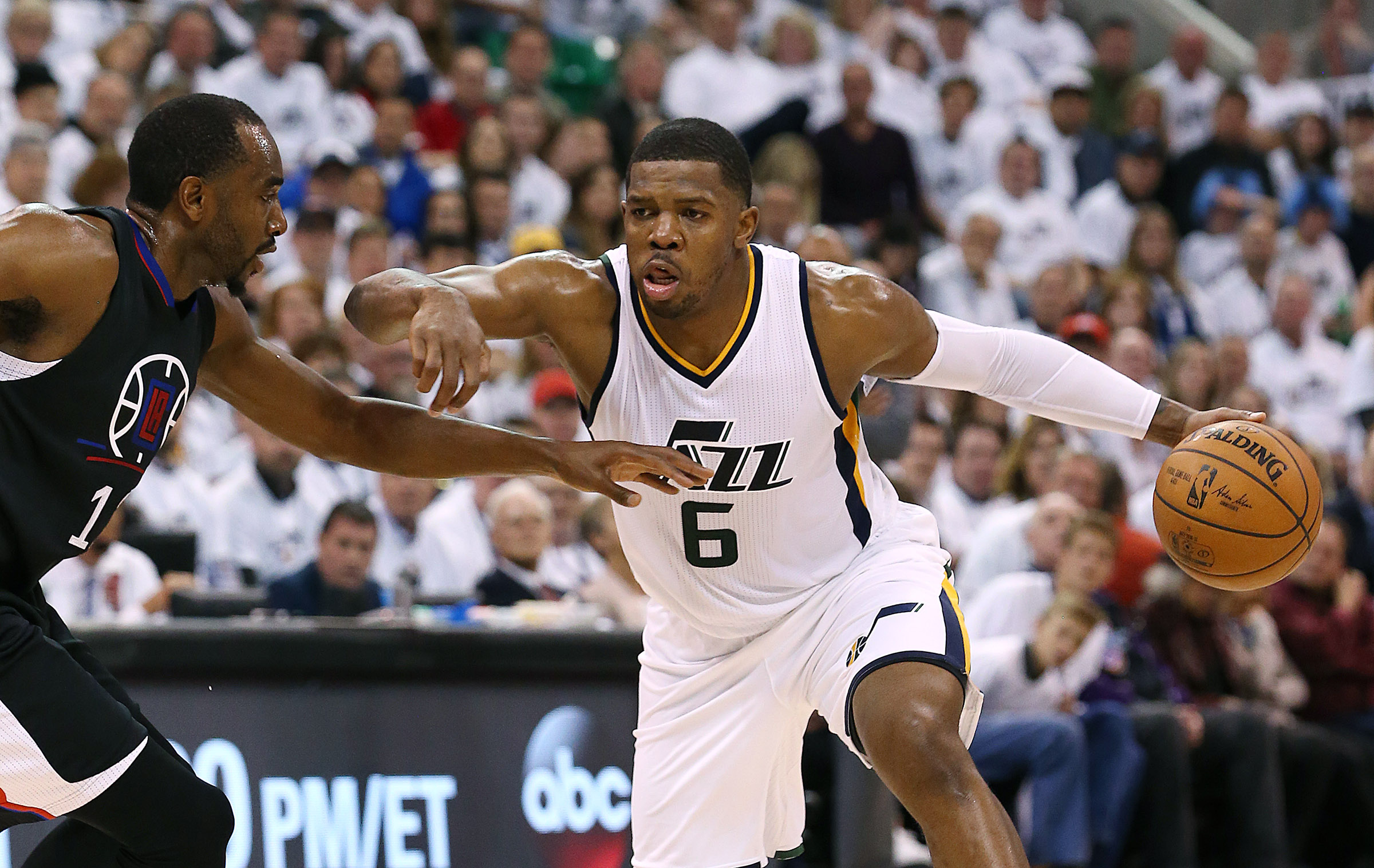 Utah Jazz forward Joe Johnson (6) drives on LA Clippers forward Luc Mbah a Moute (12) as the Utah Jazz and the LA Clippers compete in Game 6 of the NBA playoffs at Vivint Smart Home Arena in Salt Lake City on Friday, April 28, 2017.