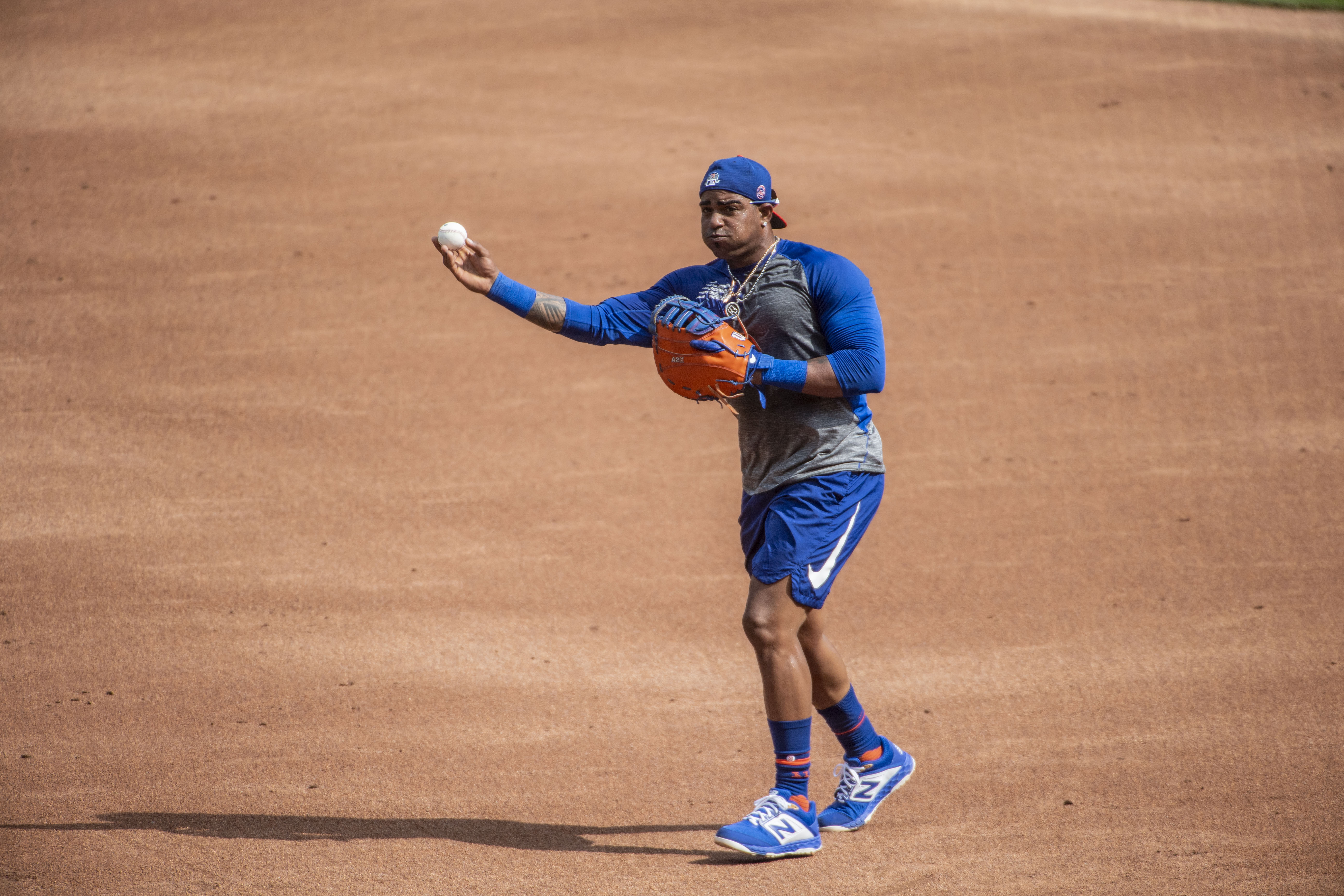 Yoenis Cespedes of the New York Mets works out at Citi Field