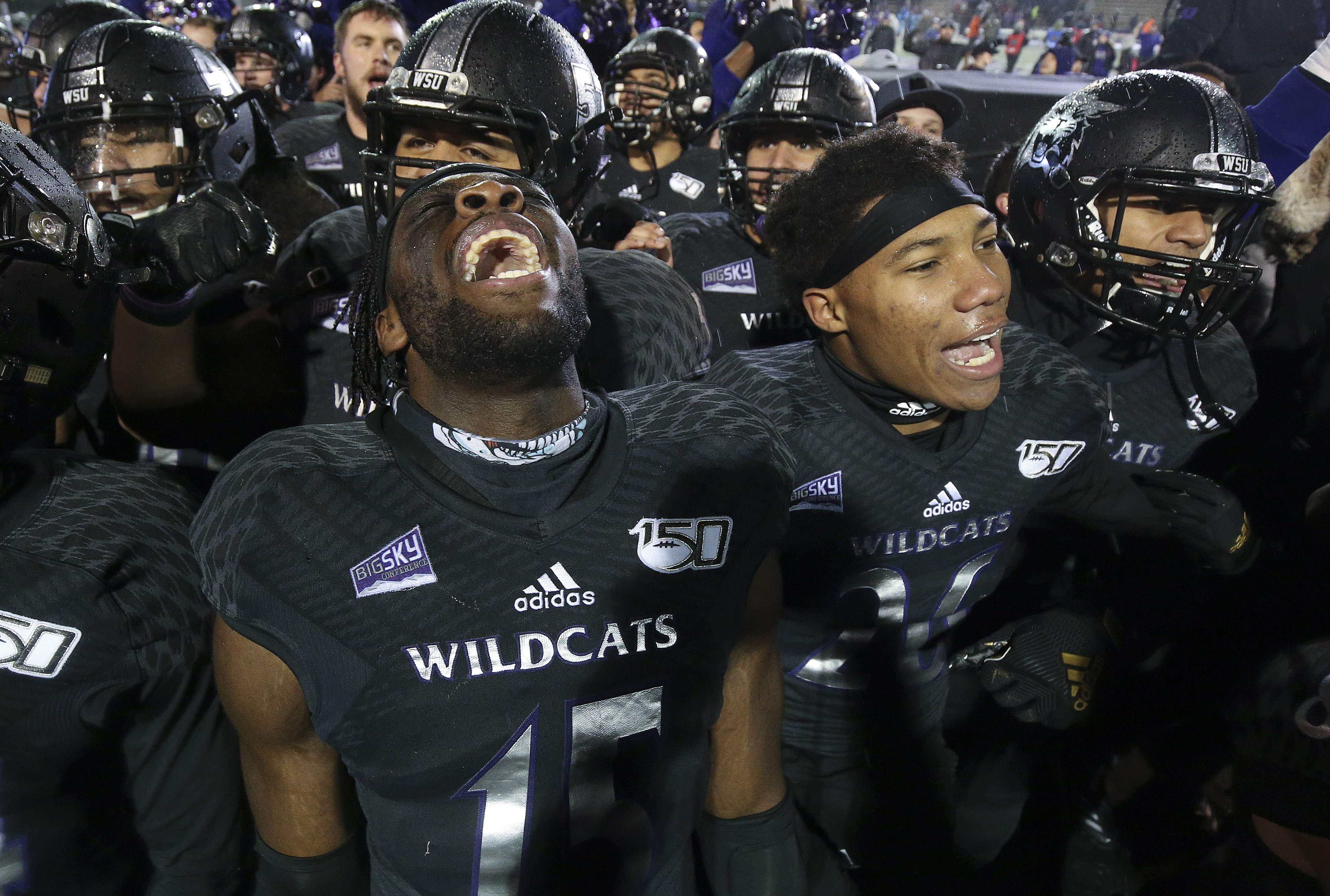 Weber State Wildcats Raoul Johnson (15) celebrate the won over the Montana Grizzlies during the FCS quarterfinals at Stewart Stadium in Ogden on Friday, Dec. 13, 2019. Weber won 17-10.
