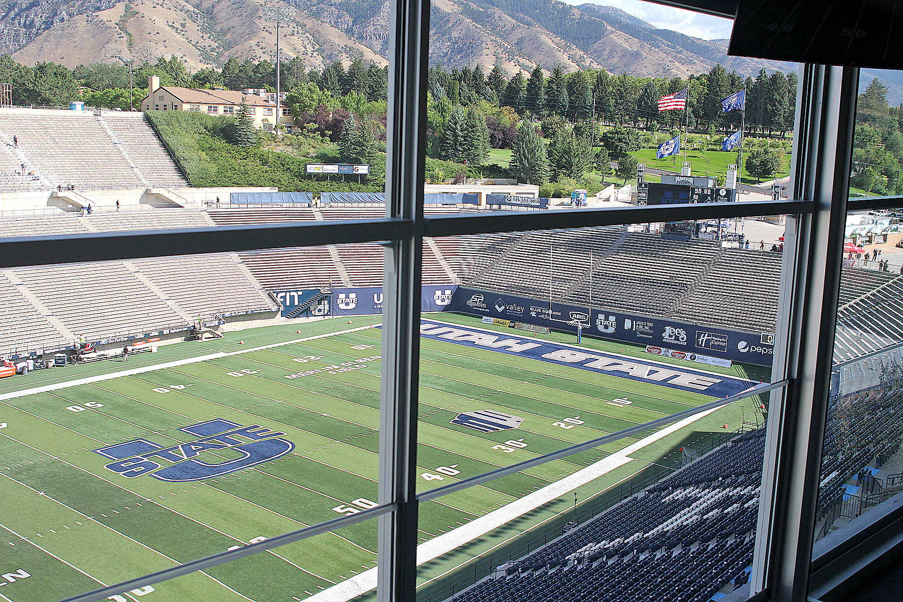 20000101 The view of Merlin Olsen Field from a suite at the new West Stadium Center at Maverik Stadium in Logan.
