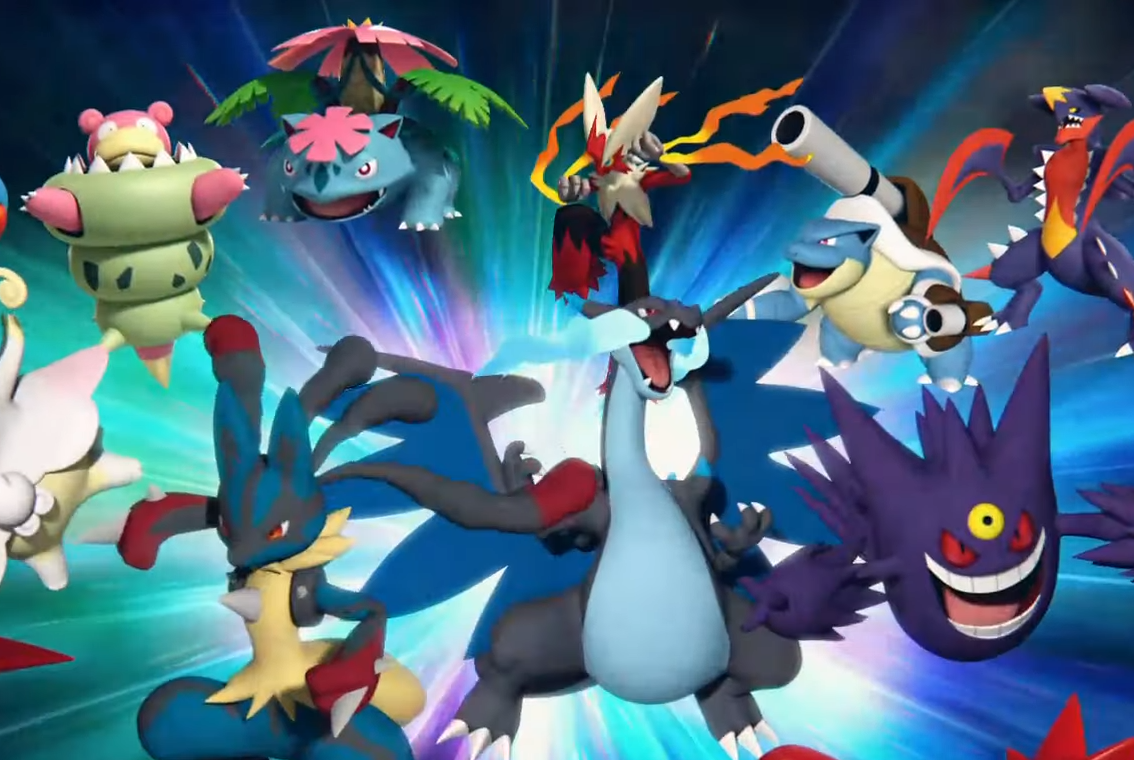 An assortment of Mega Evolution Pokémon on a colorful background
