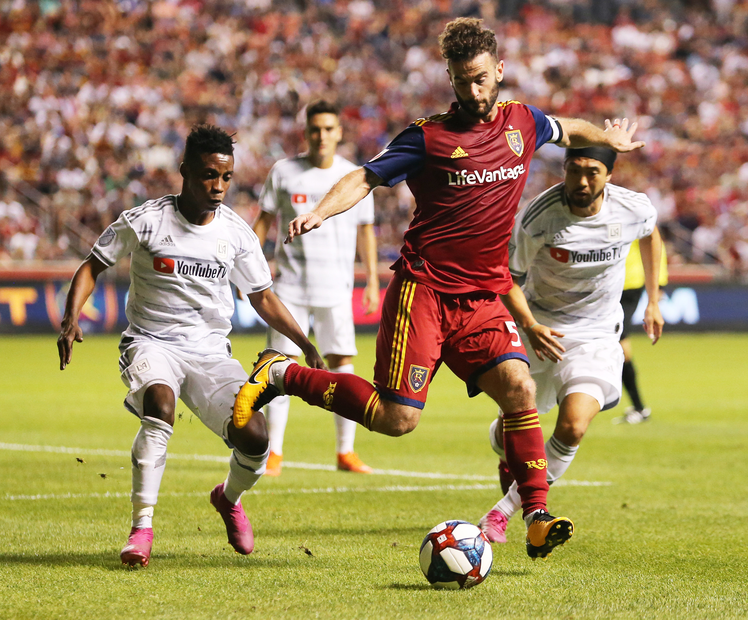 Real Salt Lake midfielder Kyle Beckerman (5) works to control the ball as as Real Salt Lake and Los Angelees FC play at Rio Tinto Stadium in Sandy on Saturday, Aug. 17, 2019. LA won 2-0.