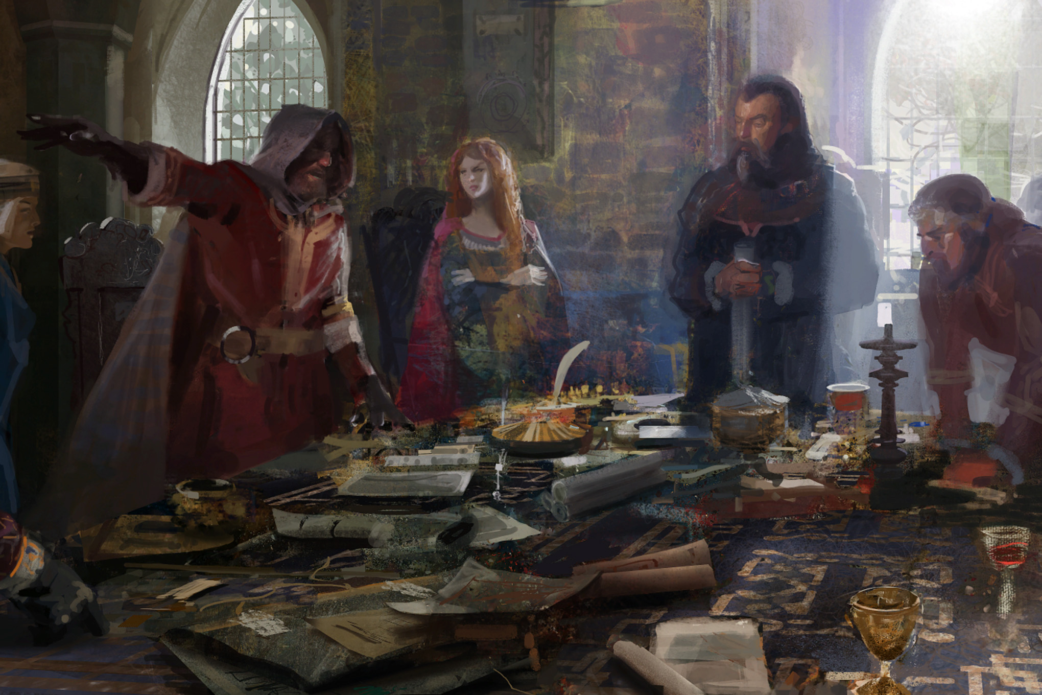 A king and his councilors contemplate war in a piece of key art from Crusader Kings 3.