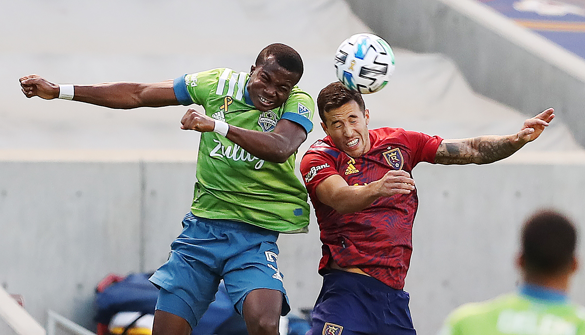 Seattle Sounders defender Nouhou Tolo (5) and Real Salt Lake defender Aaron Herrera (22) battle for the ball as Real Salt Lake and Seattle play an MSL soccer game at Rio Tinto Stadium in Sandy Utah on Wednesday, Sept. 2, 2020. The two teams battled to a 2-2 draw.