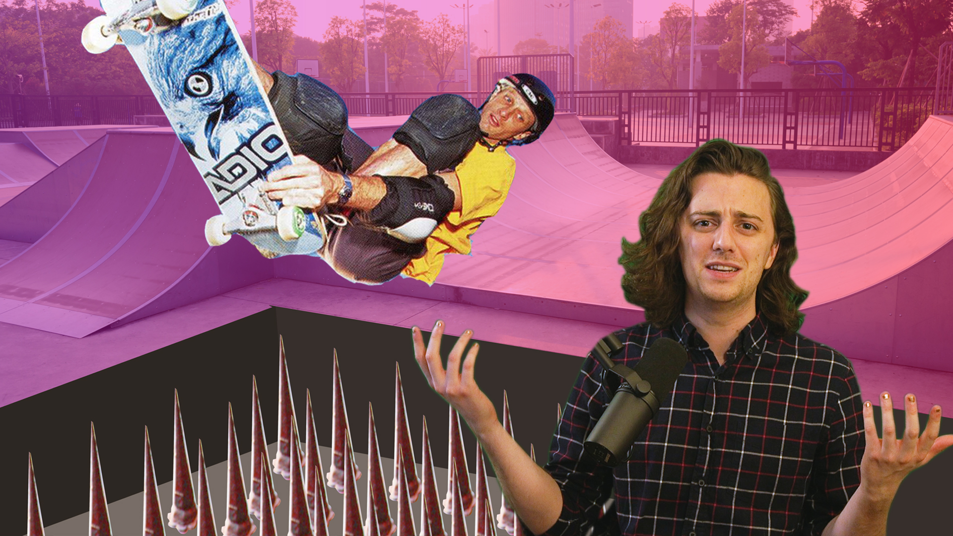 Brian David Gilbert gestures in confusion in front of an image of Tony Hawk falling into a pit of spikes.