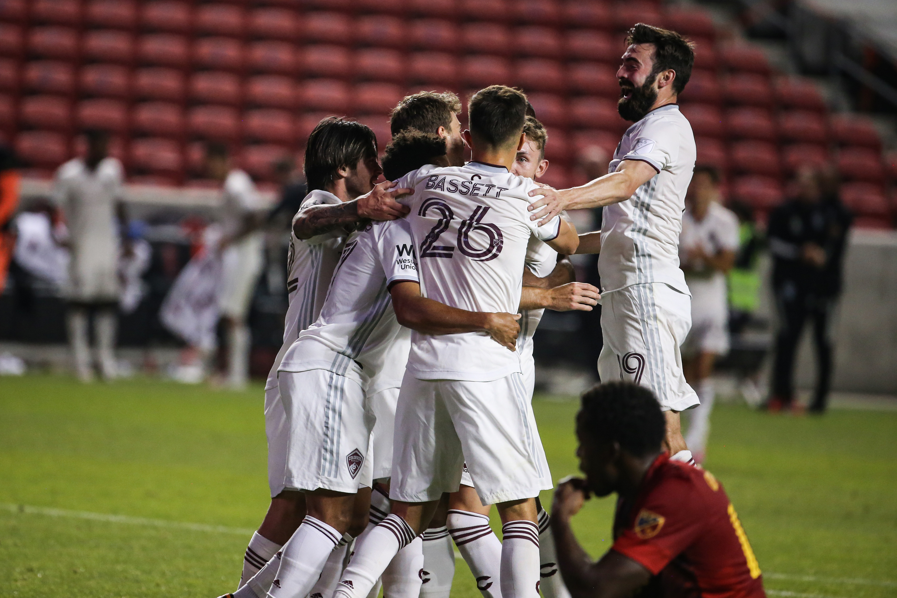 Colorado Rapids players celebrates their fifth team goal scored by midfielder Cole Bassett (26) during an MLS soccer game at Rio Tinto Stadium in Sandy on Saturday, Sept. 12, 2020.