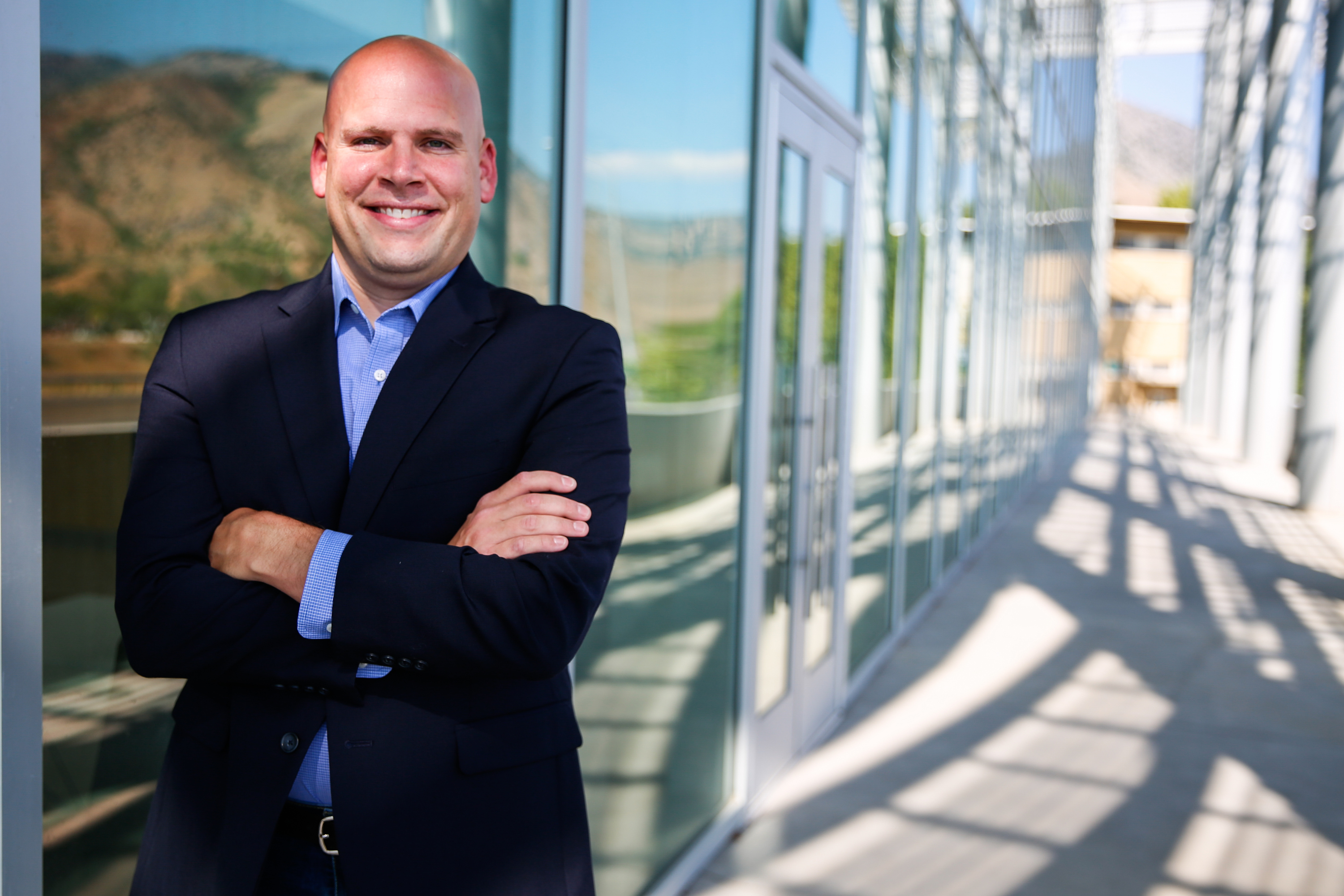 Christopher Koopman, executive director at the Center for Growth and Opportunity at Utah State State University, poses for a portrait at Jon M. Huntsman Hall at Utah State University in Logan on Saturday, Aug. 29, 2020.