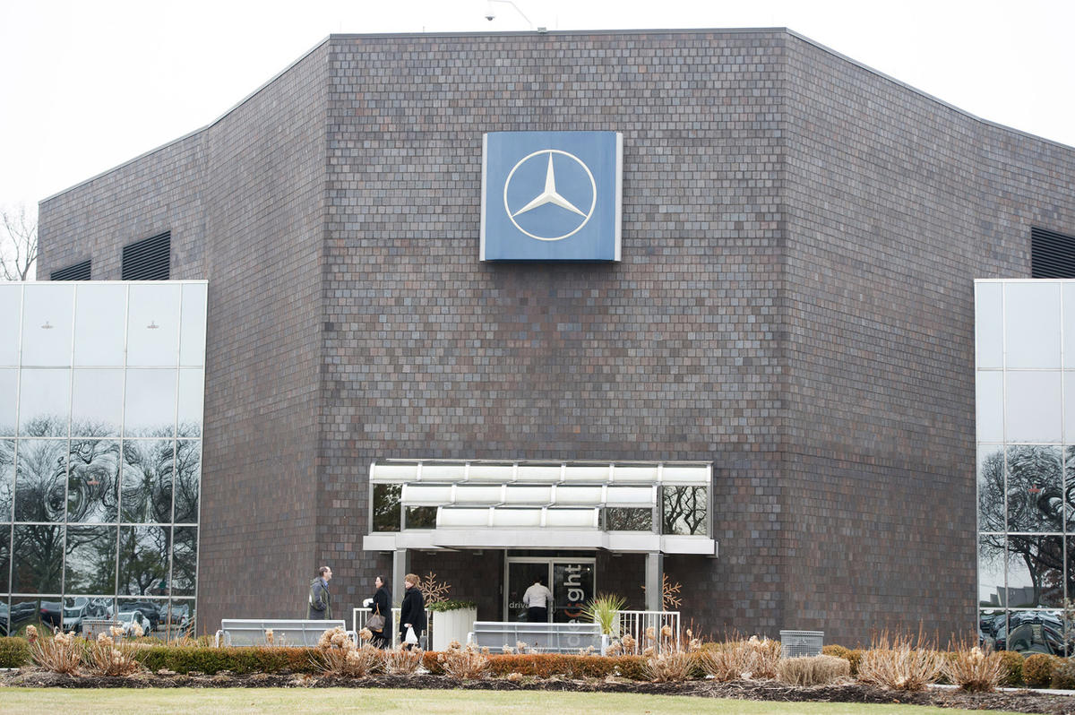 In this Dec. 16, 2014 photo, the exterior of the Mercedes-Benz corporate headquarters is shown in Montvale, N.J.