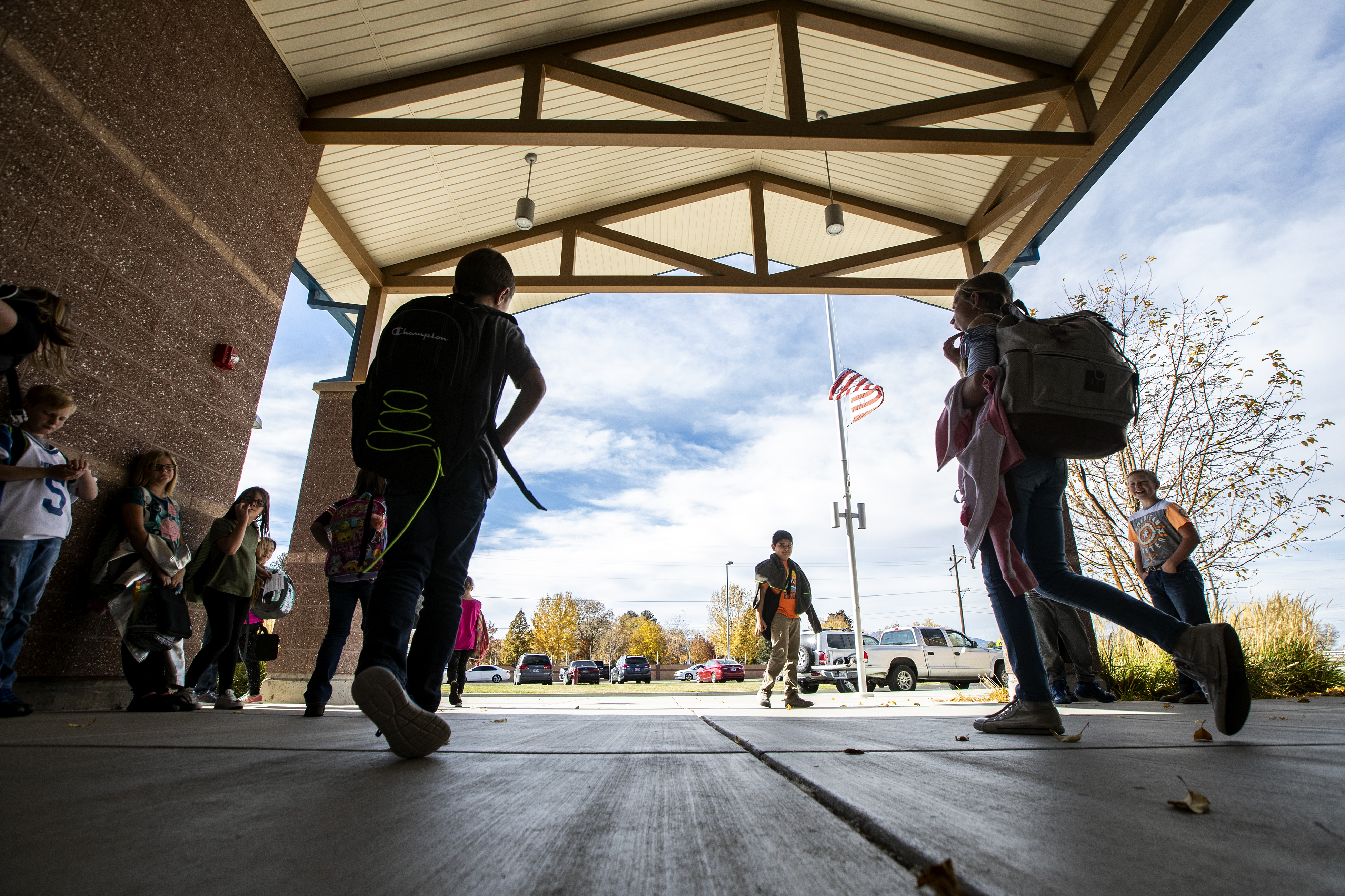 Students at Beaver School District's Belknap Elementary School leave school at the end of the day. Belknap is one of the highest performing elementary schools in Utah and is a Title 1 school, in Beaver on Monday, Oct. 29, 2018.