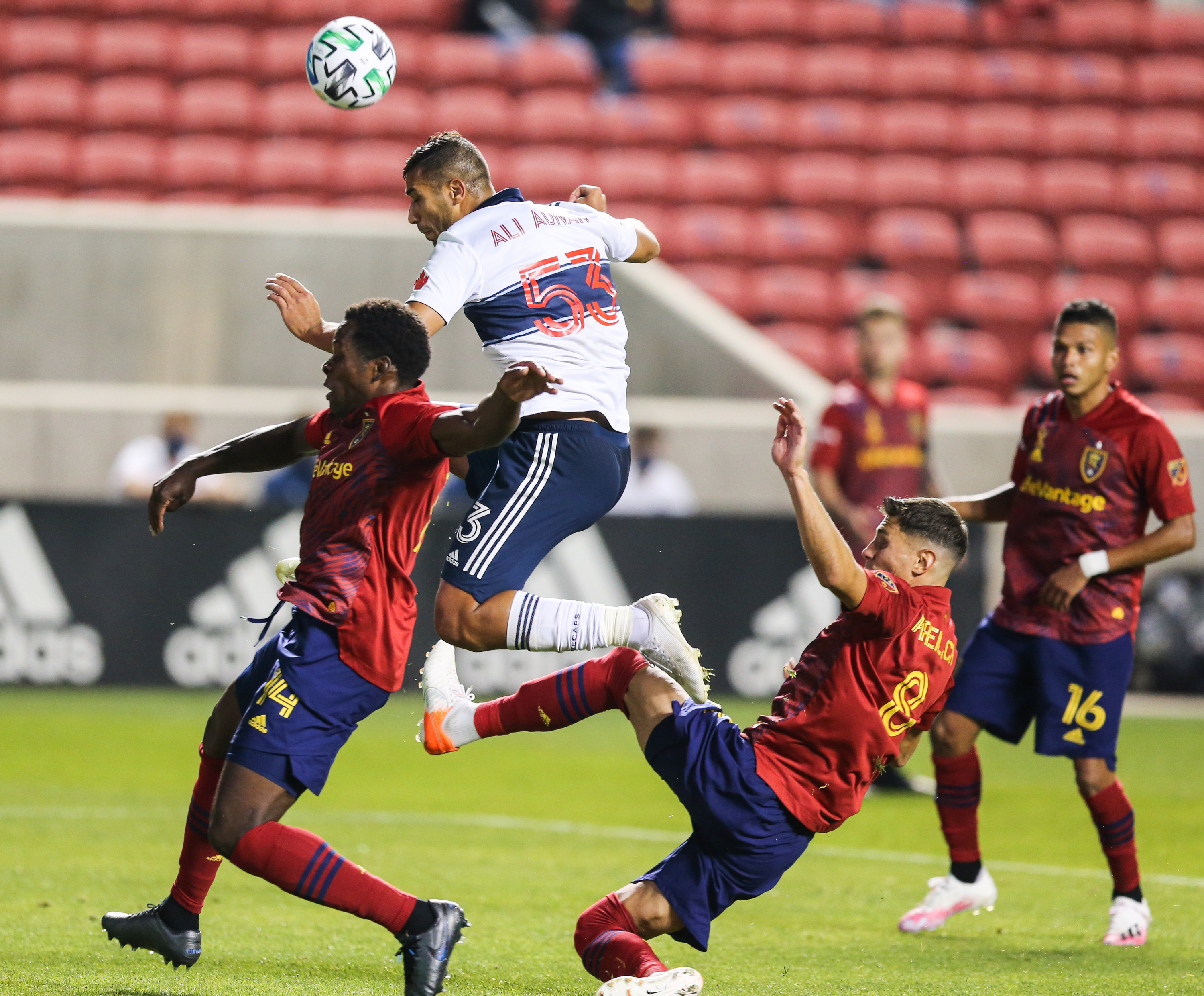 Vancouver Whitecaps defender Ali Adnan (53) attempts a shot against the Real Salt Lake defense during an MLS soccer game at Rio Tinto Stadium in Sandy on Saturday, Sept. 19, 2020.