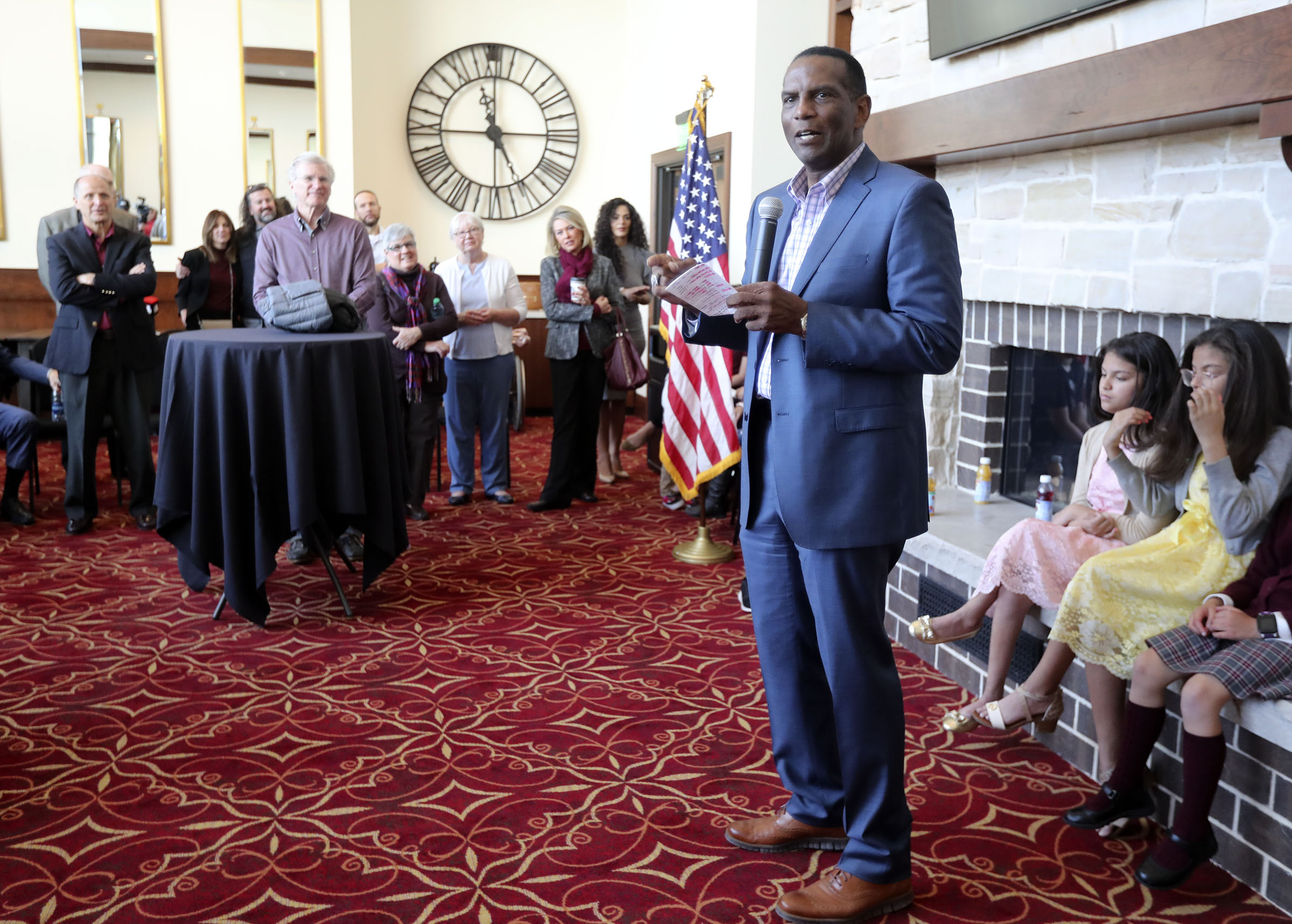 Republican Burgess Owens speaks during a campaign launch event at Hale Centre Theatre in Sandy on Wednesday, Nov. 6, 2019. Burgess announced Wednesday he will run against Rep. Ben McAdams, D-Utah, in the 4th Congressional District.