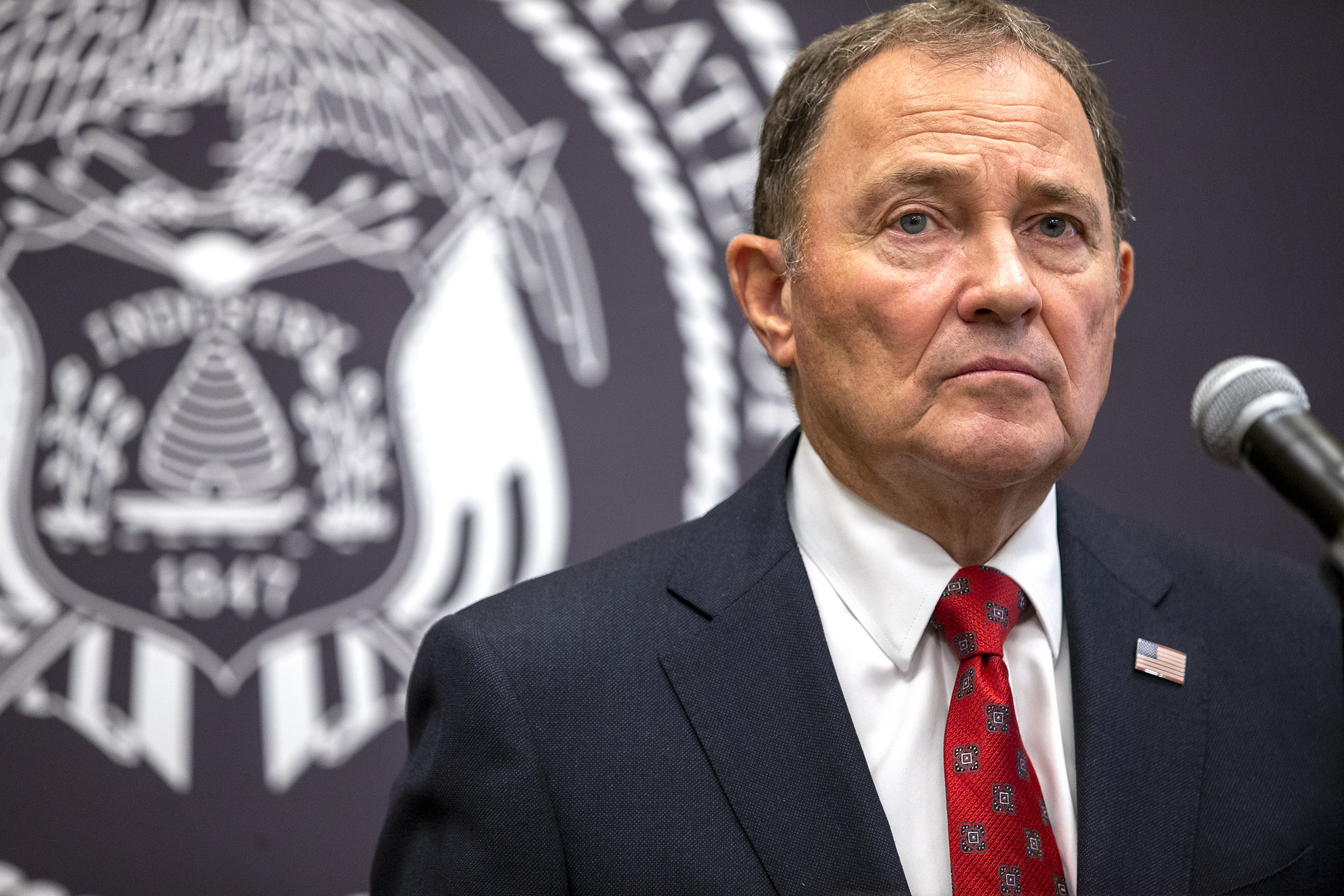 Gov. GaryHerbert listens to a question from a member of the media during a COVID-19 briefing at the Capitol in Salt Lake City on Tuesday, Sept. 22, 2020.