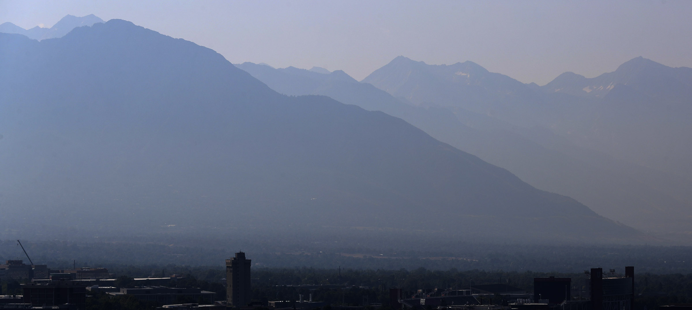 Hazy air due to wildfires in the West hangs over Salt Lake City on Monday, Sept. 9, 2019.