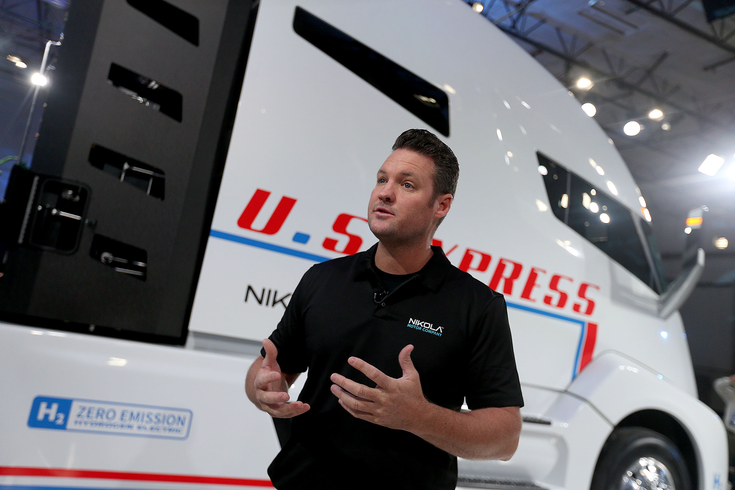 Trevor Milton, Nikola's CEO, talks about the Nikola One electric semitrailer at Nikola World headquarters in Salt Lake City on Friday, Dec. 2, 2016. The prototype Nikola One is expected to be the most fuel efficient class 8 truck ever built.