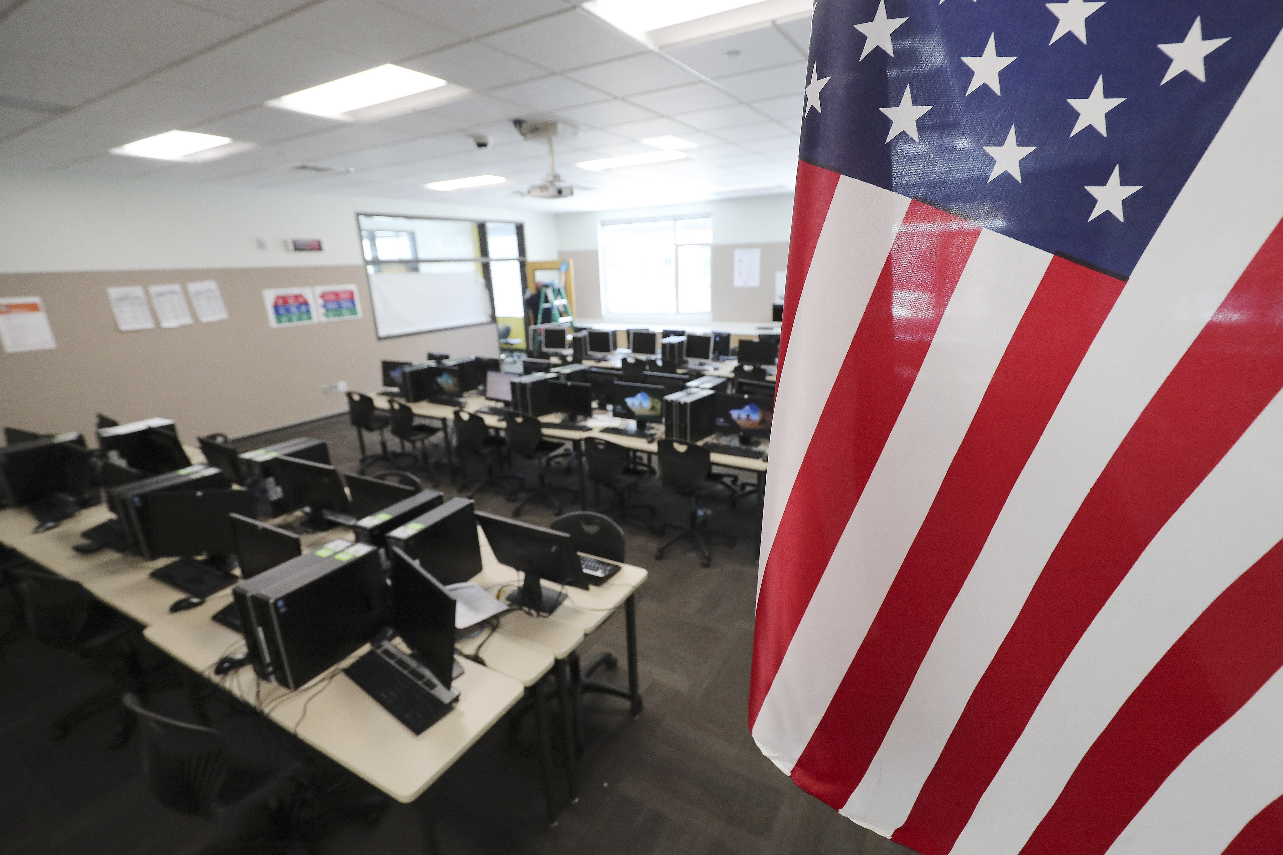 An empty classroom at Mount Jordan Middle School in Sandy is pictured on Tuesday, April 14, 2020.