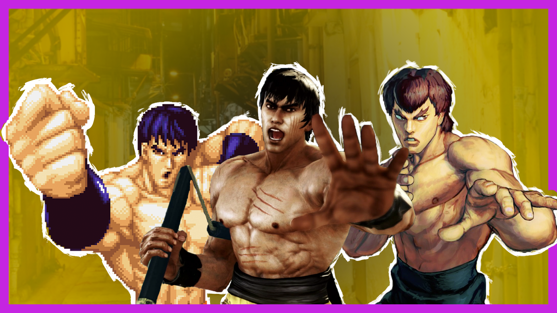 Several Bruce Lee look-alikes from video games pose dramatically