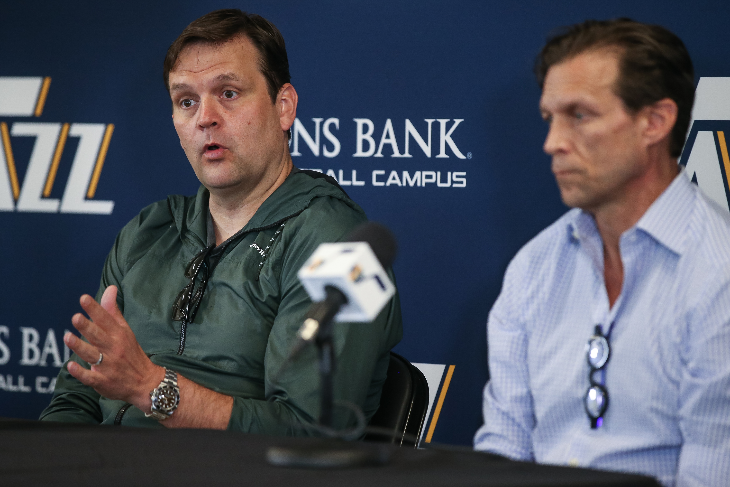 Utah Jazz general manager Dennis Lindsey and head coach Quin Snyder talk to journalists at the Zions Bank Basketball Center in Salt Lake City on Wednesday, May 9, 2018.