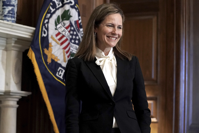 Supreme Court nominee Judge Amy Coney Barrett, meets with Sen. Marsha Blackburn, R-Tenn., not shown, Thursday, Oct. 1, 2020 at the Capitol in Washington.