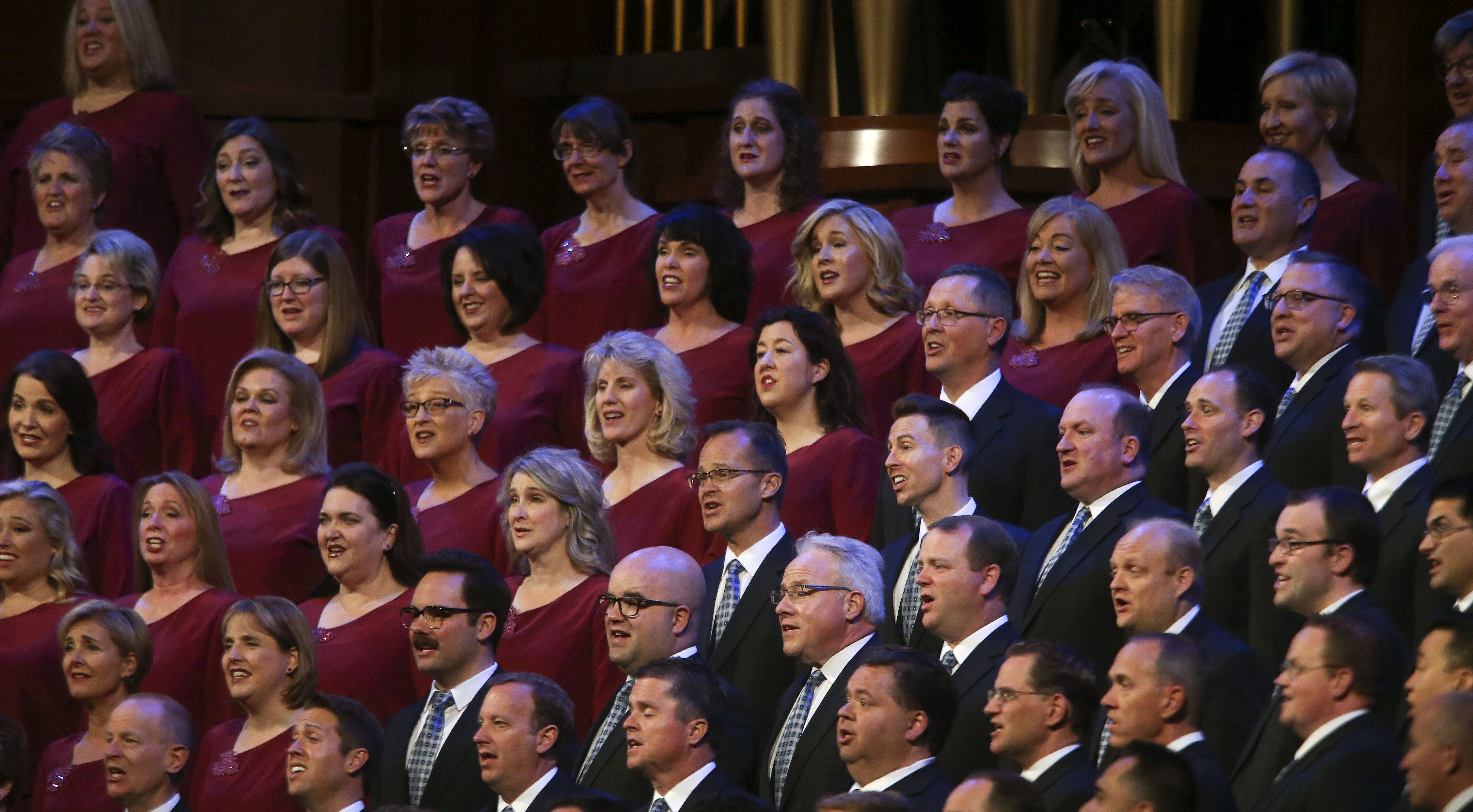 """The Tabernacle Choir at Temple Square performs during the """"Music and the Spoken Word"""" broadcast prior to the Sunday morning session of the 189th Semiannual General Conference of The Church of Jesus Christ of Latter-day Saints in the Conference Center in Salt Lake City on Sunday, Oct. 6, 2019."""