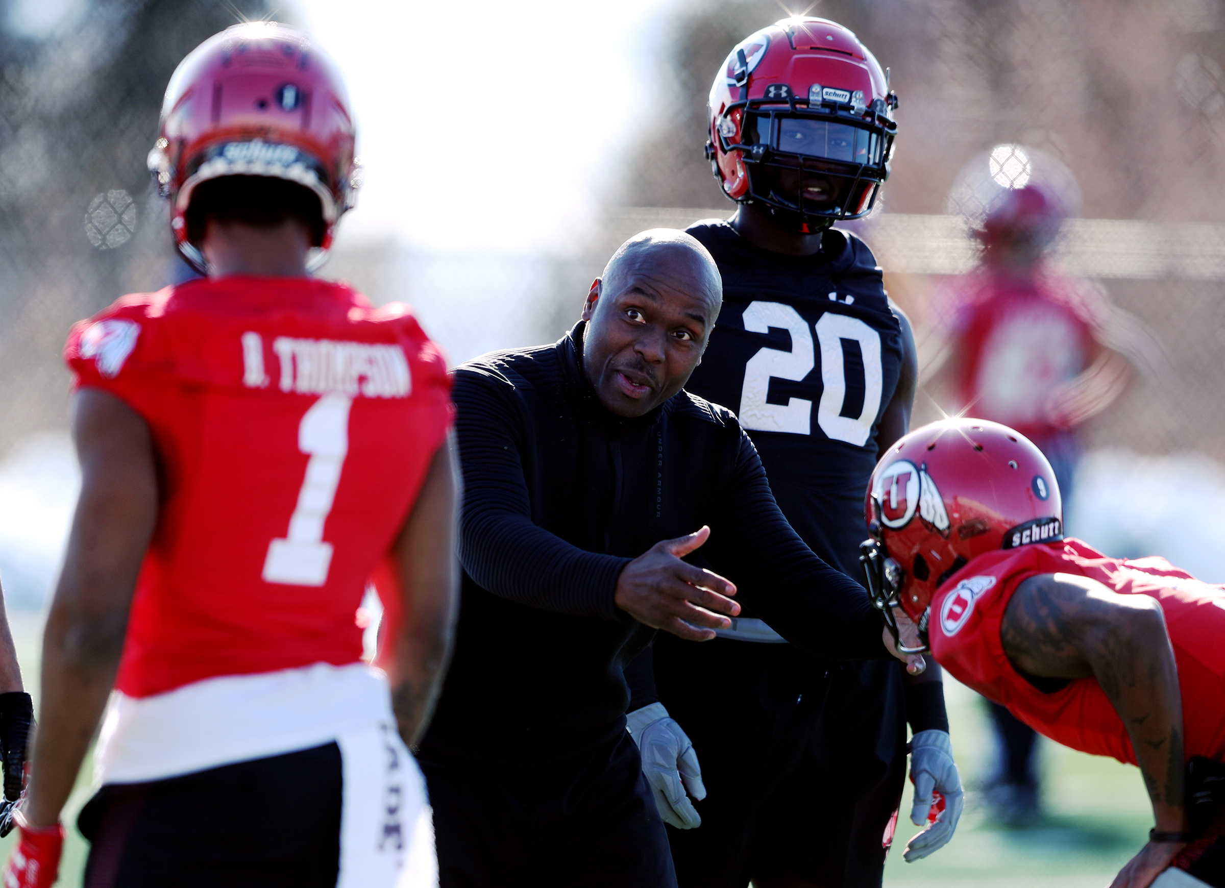 Utah cornerbacks coach/special teams coordinator Sharrieff Shah works with his players as the University of Utah football team opens spring camp in Salt Lake City on Monday, March 2, 2020.